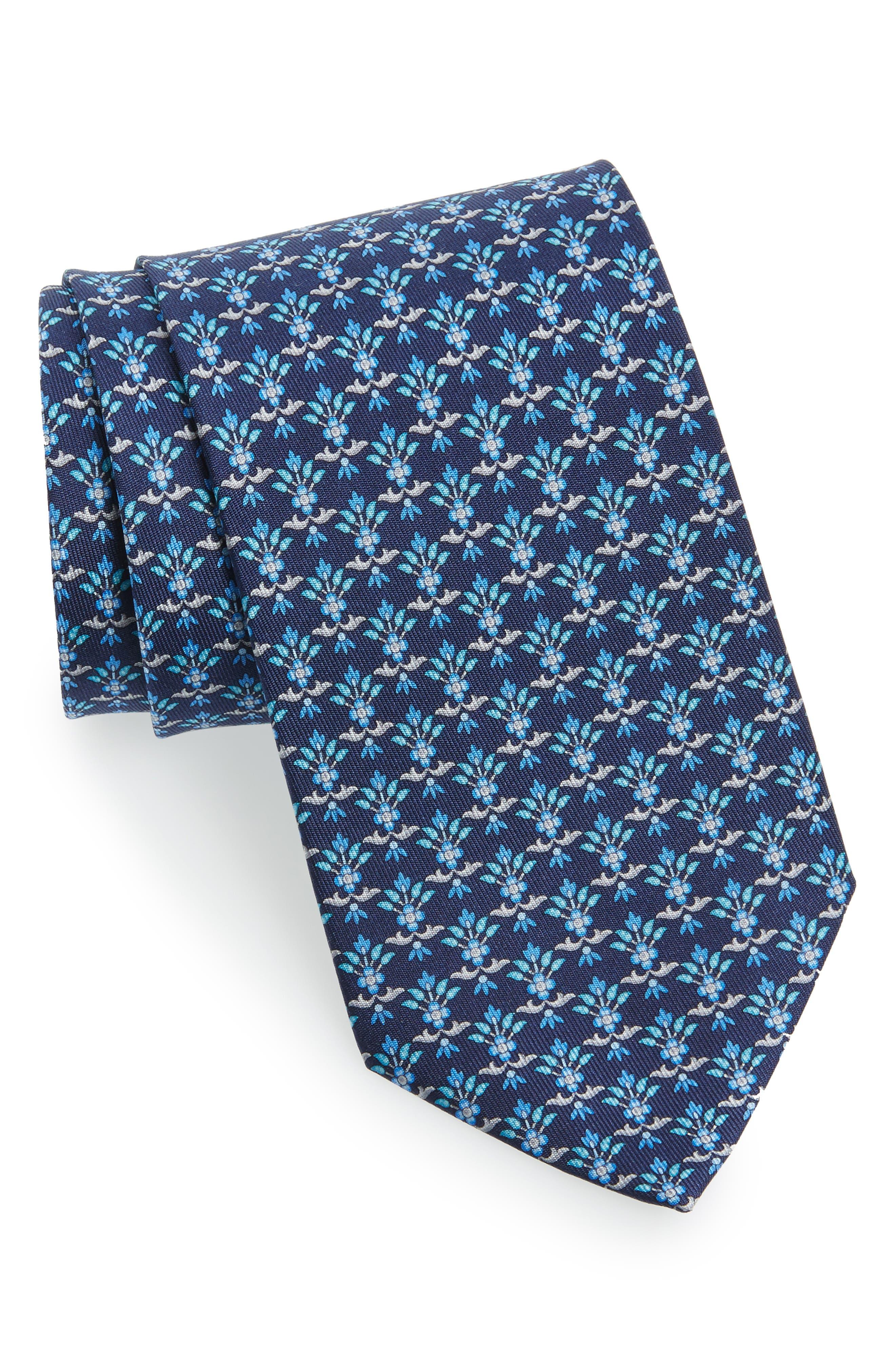 Geometric Silk Tie,                             Main thumbnail 1, color,                             Marine Blue