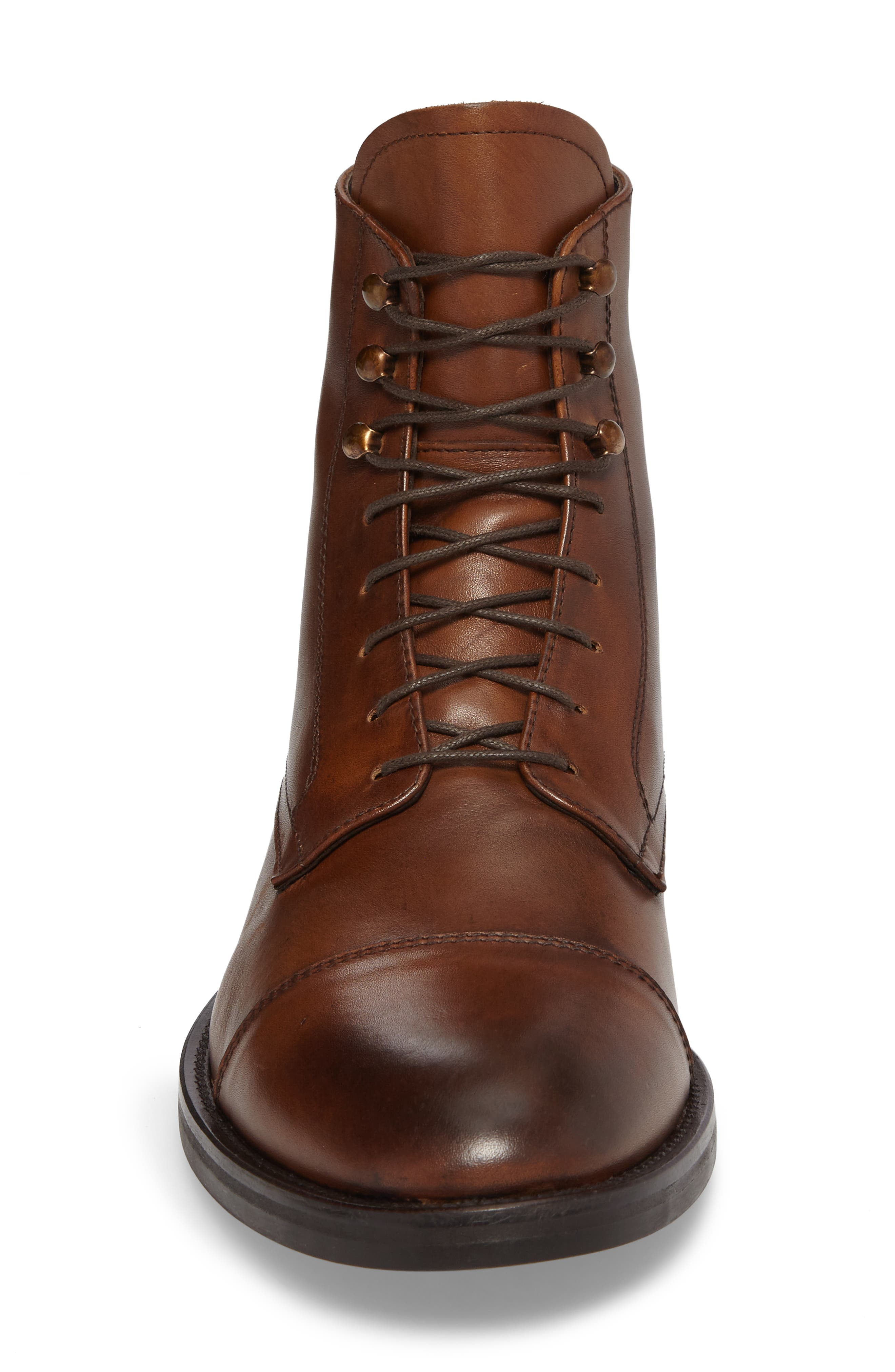 Henri Cap Toe Boot,                             Alternate thumbnail 4, color,                             Cuoio Leather