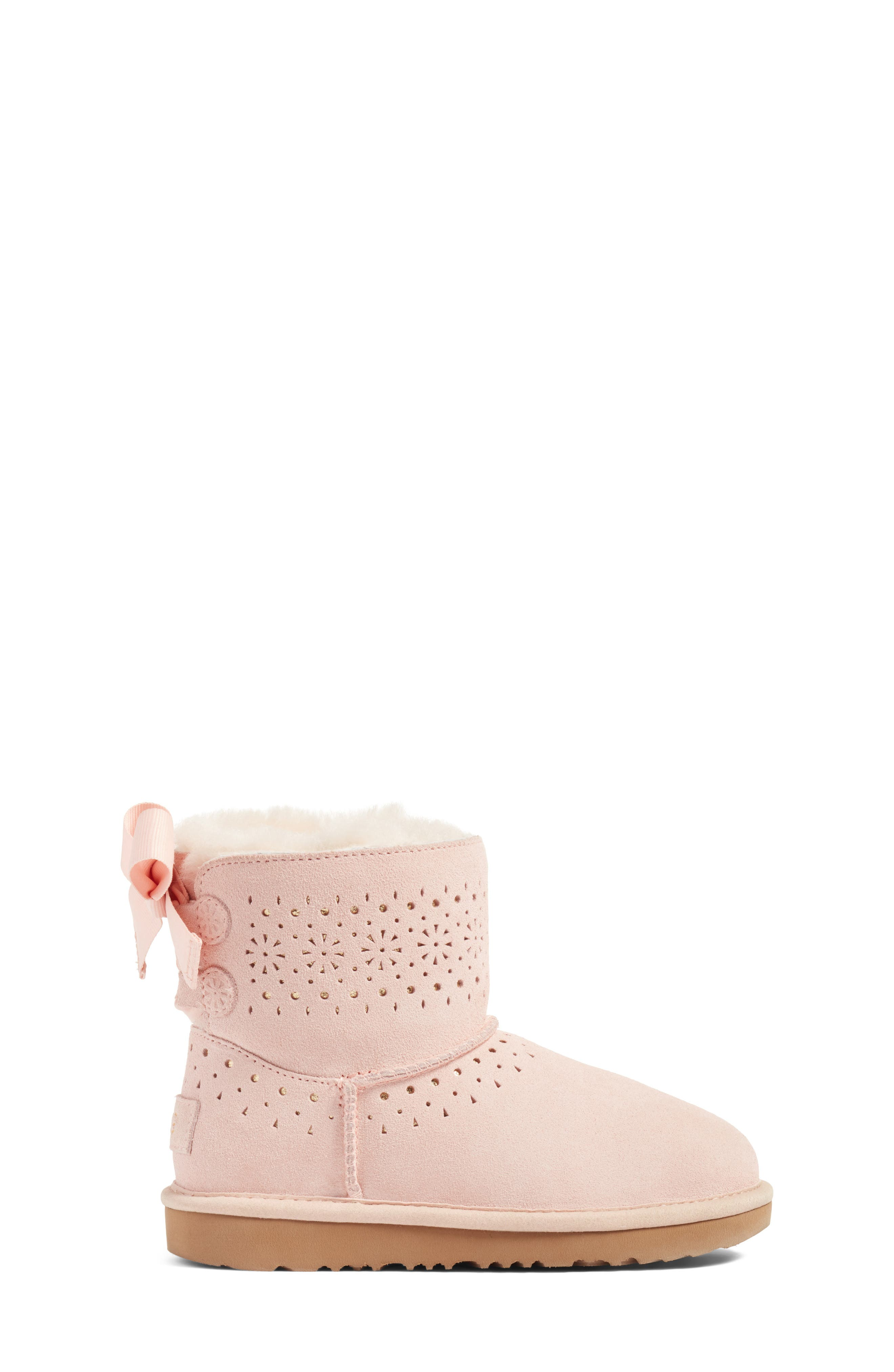 Dae Perforated Tie Back Boot,                             Alternate thumbnail 4, color,                             Baby Pink