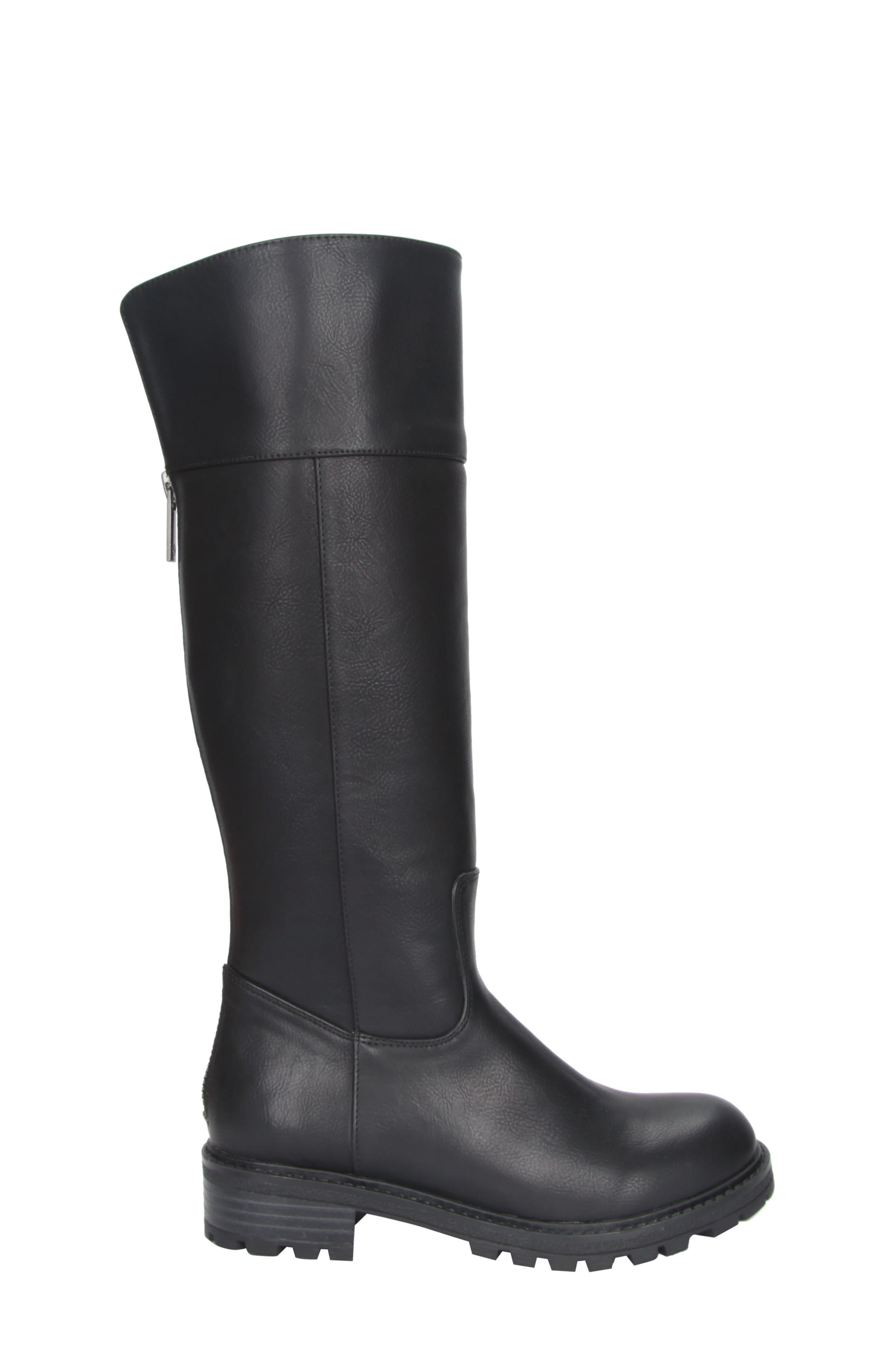 Nixie Tall Lugged Boot,                             Alternate thumbnail 3, color,                             Black Tumbled Leather
