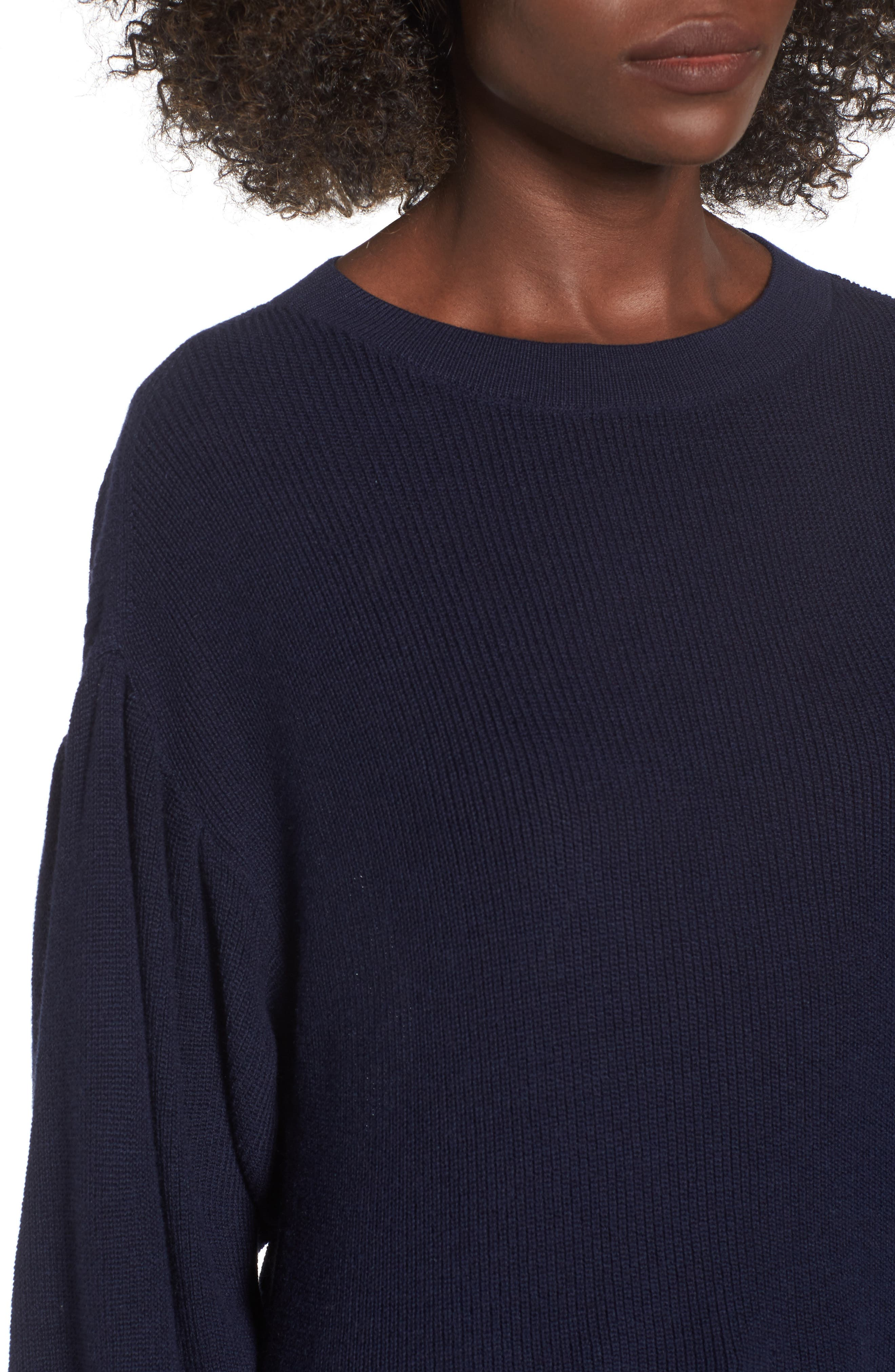 Drape Sleeve Sweater,                             Alternate thumbnail 4, color,                             Navy Evening