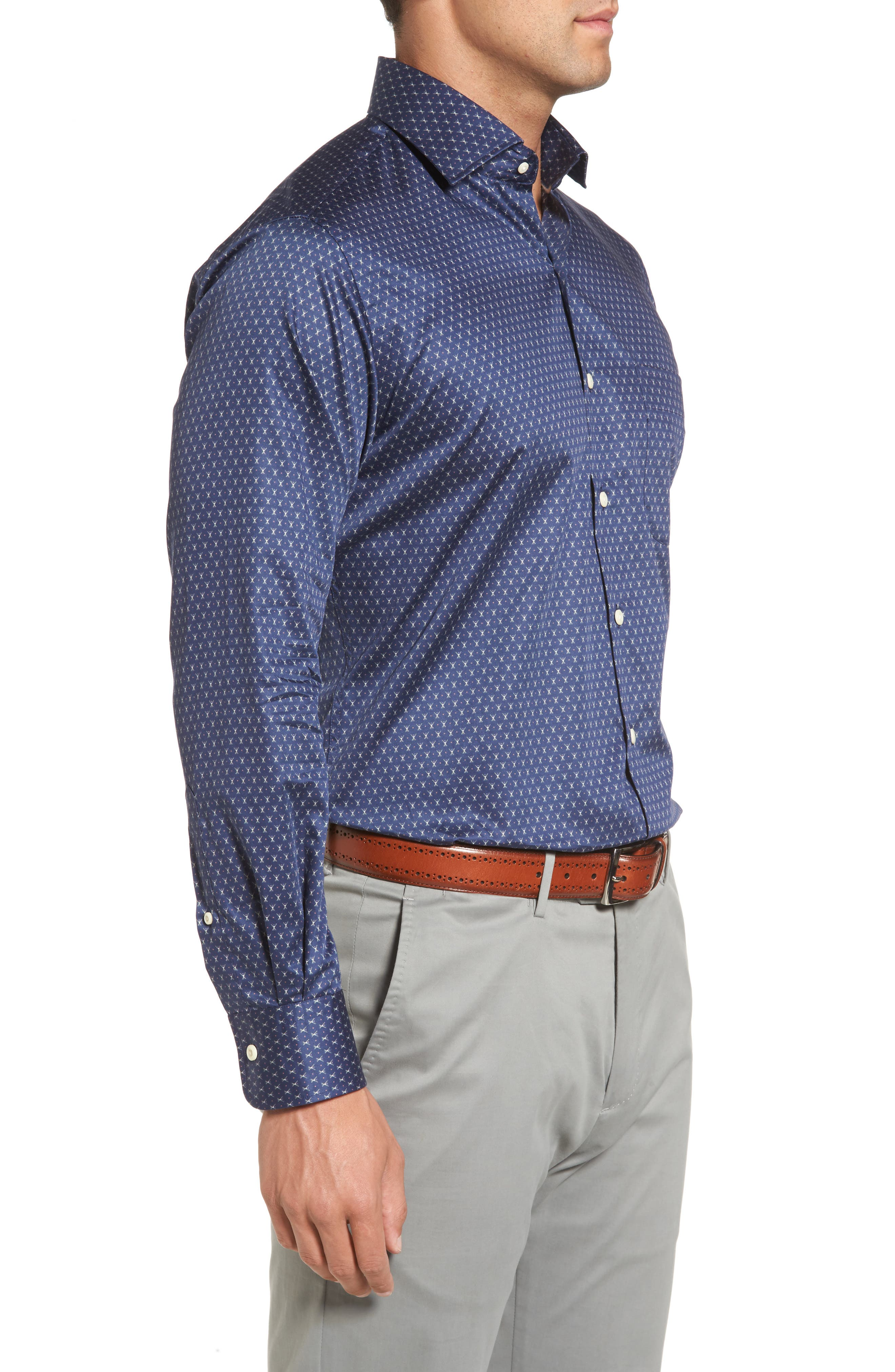 Cross Country Regular Fit Print Sport Shirt,                             Alternate thumbnail 3, color,                             Atlantic Blue