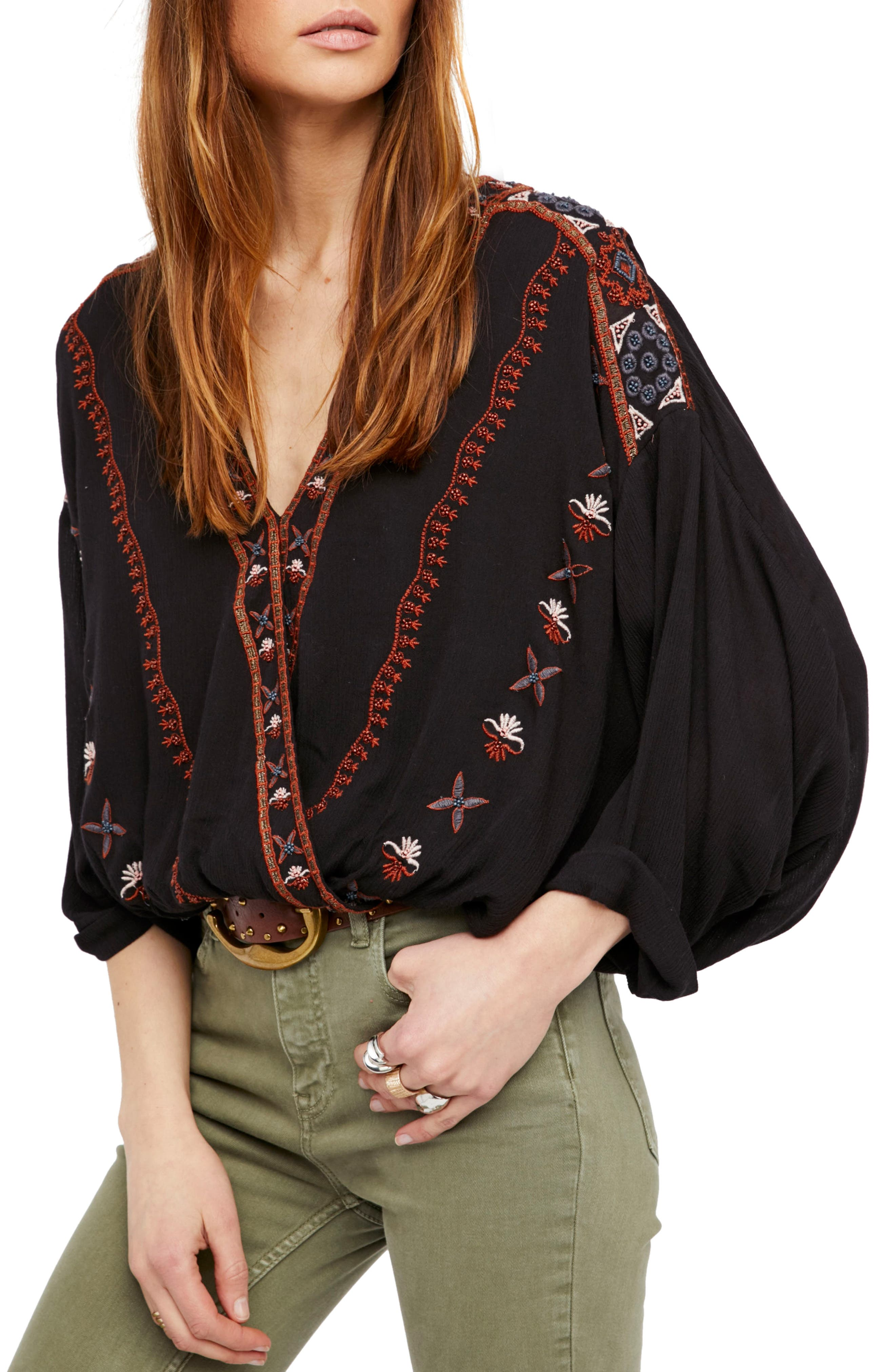 Crescent Moon Embroidered Blouse,                             Main thumbnail 1, color,                             Black