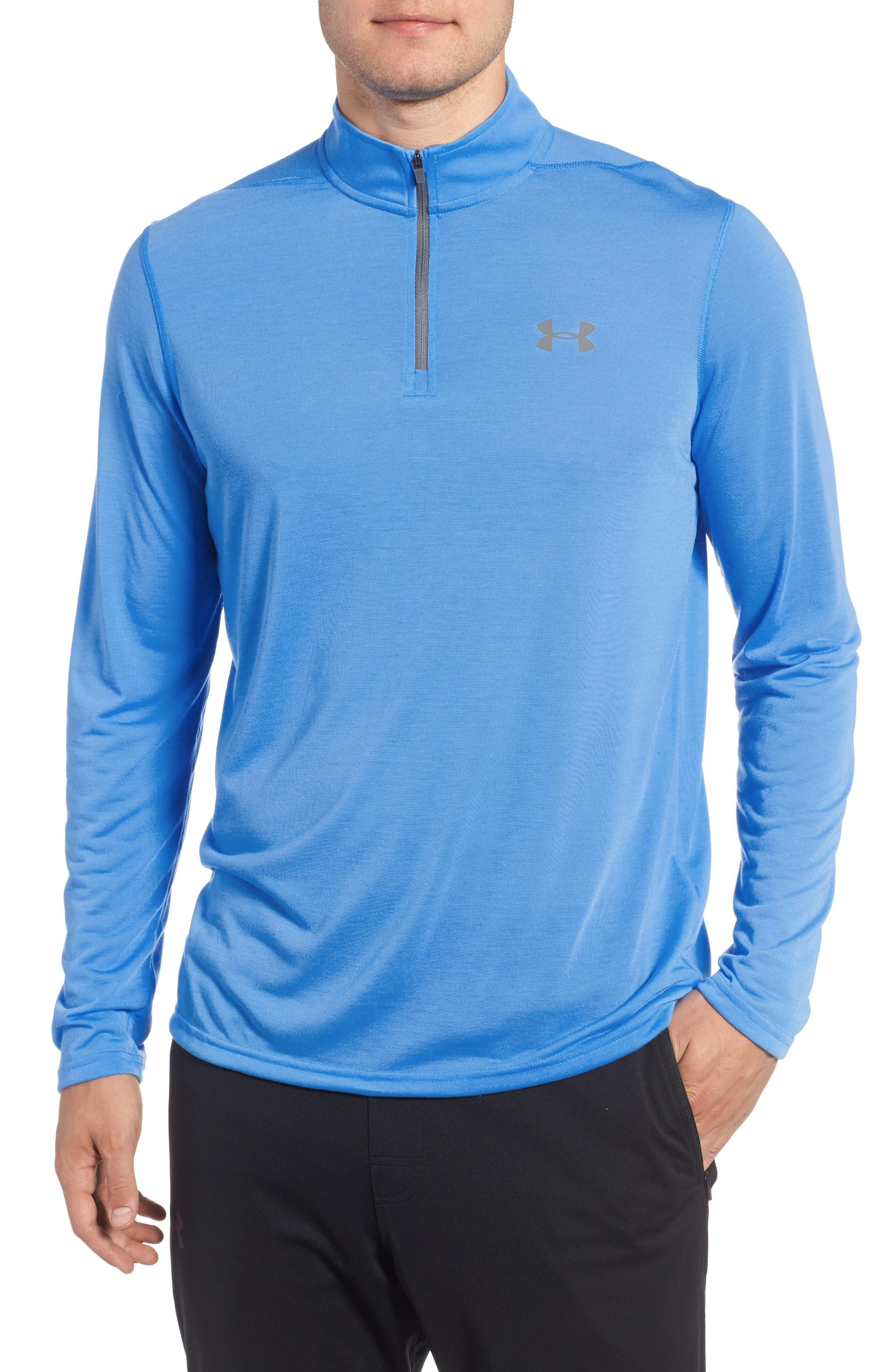 Threadborne Quarter-Zip Performance Shirt,                         Main,                         color, Mako Blue / Graphite
