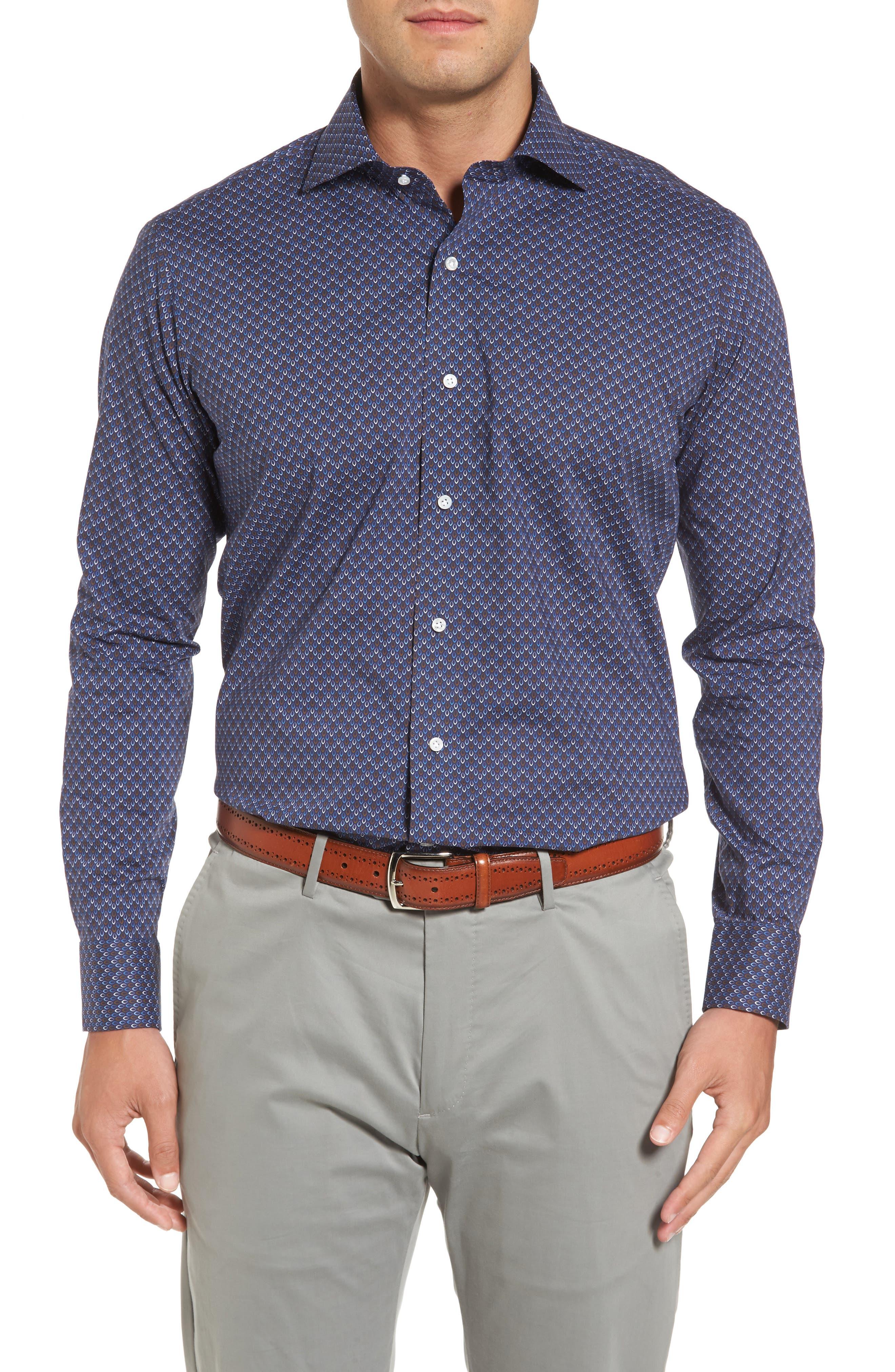 Twillingate Regular Fit Print Sport Shirt,                         Main,                         color, Blue