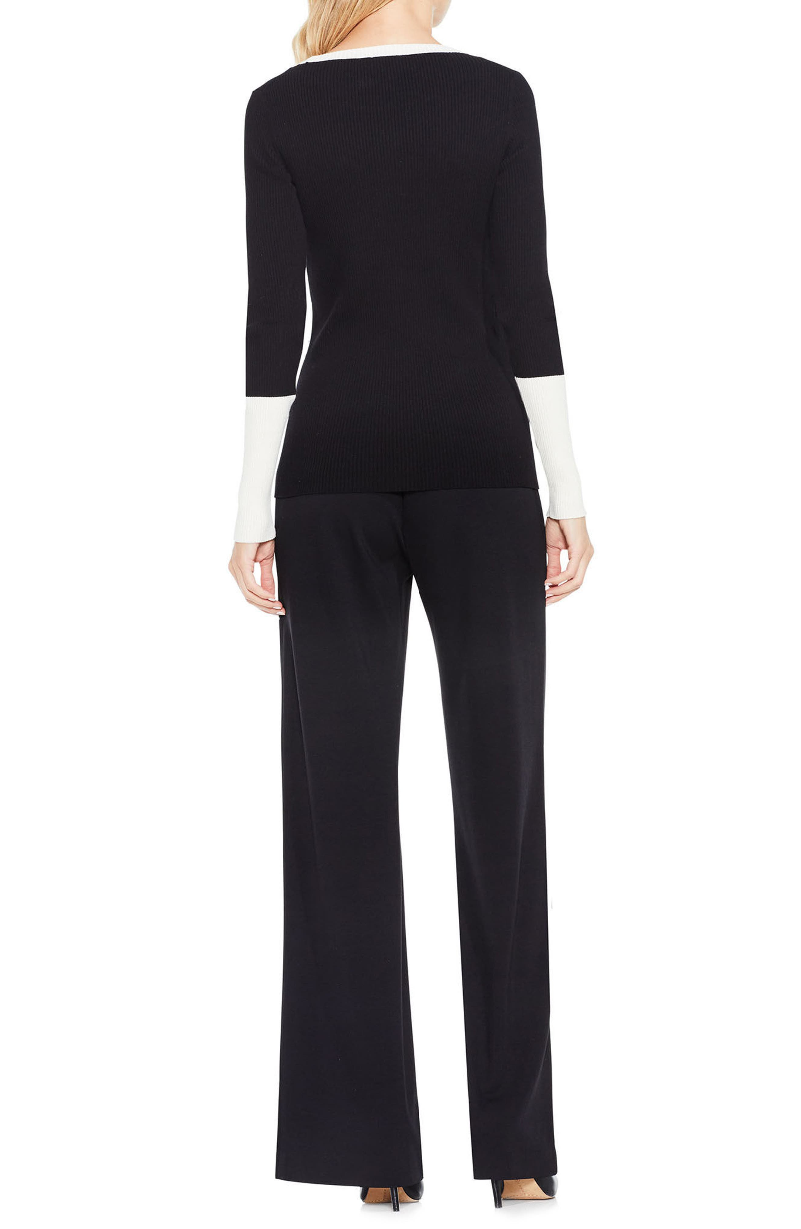 Colorblock Ribbed Sweater,                             Alternate thumbnail 3, color,                             Rich Black