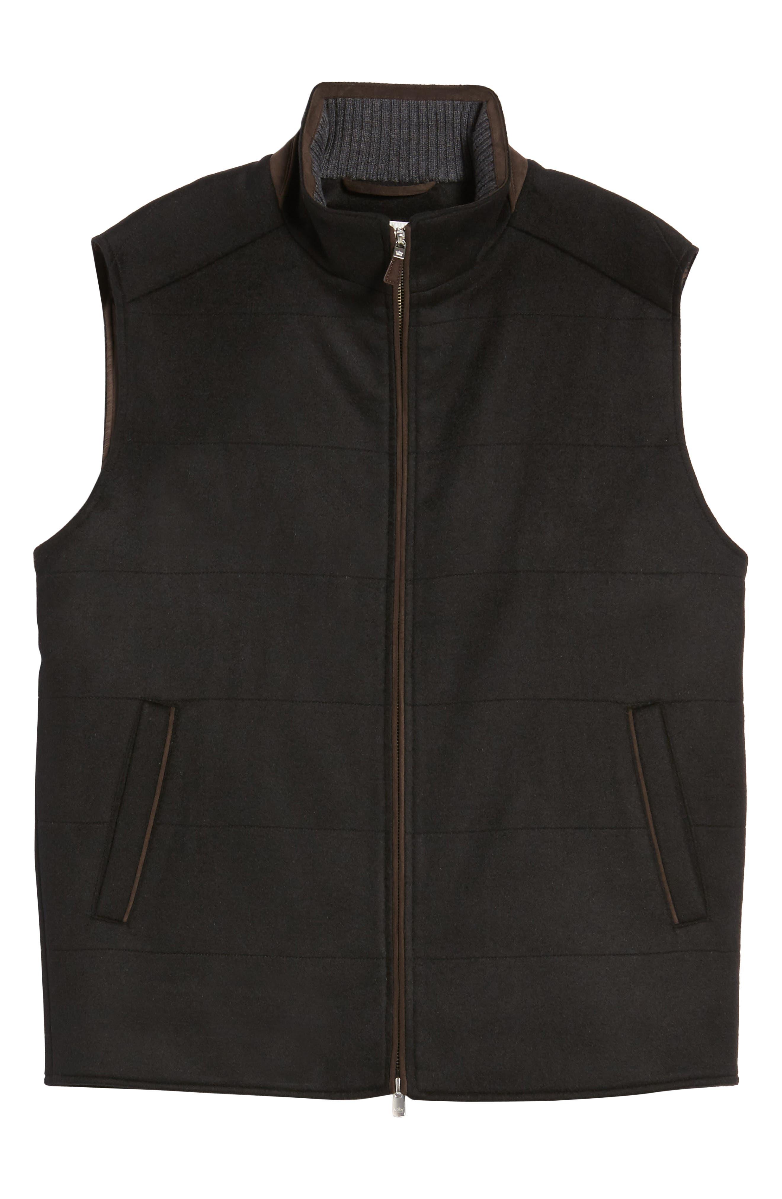 Crown Darien Wool & Cashmere Vest,                             Alternate thumbnail 6, color,                             Black