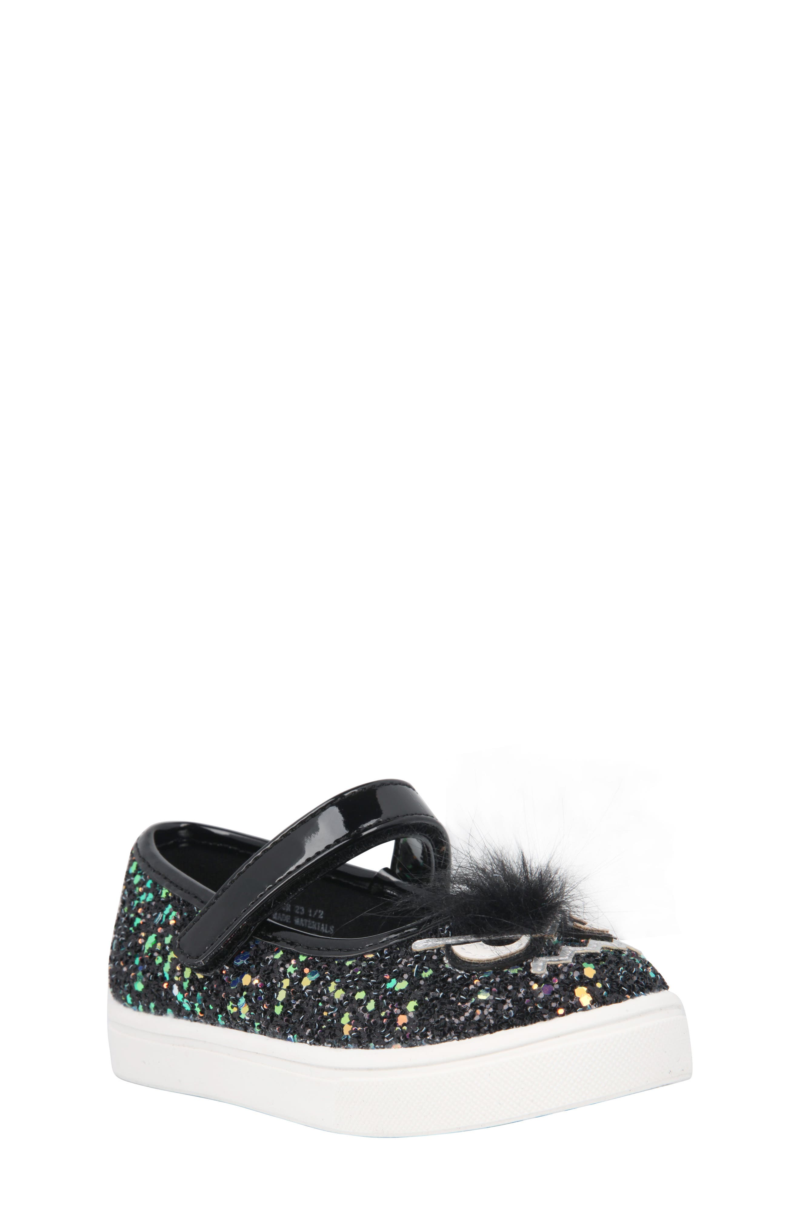 Alyx Faux Fur Glittery Mary Jane Sneaker,                             Main thumbnail 1, color,                             Black Chunky Glitter