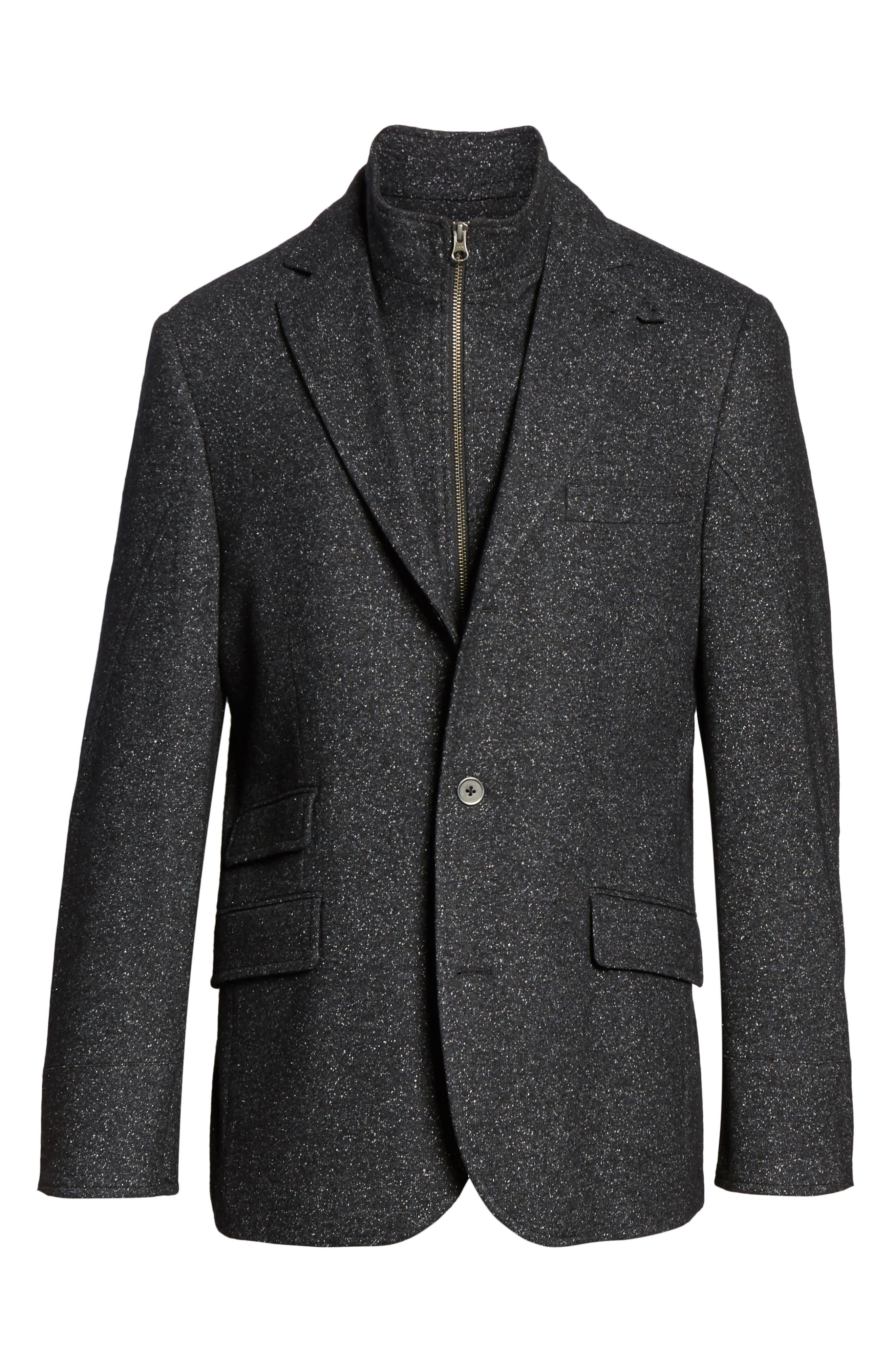 Donegal Wool Blend Hybrid Coat,                             Alternate thumbnail 6, color,                             Charcoal
