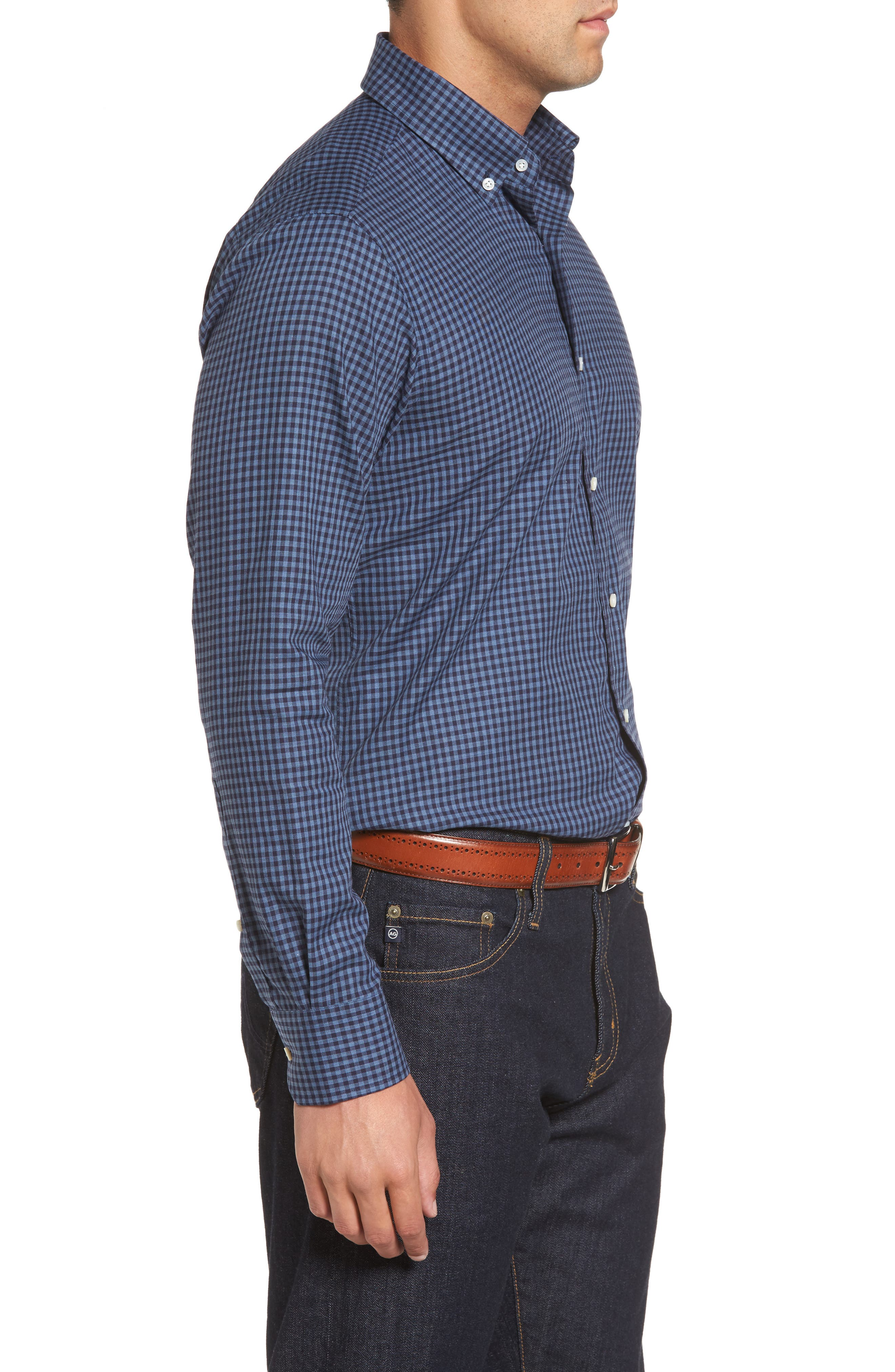 Peter Millar Caledonia Regular Fit Check Sport Shirt,                             Alternate thumbnail 3, color,                             Blue