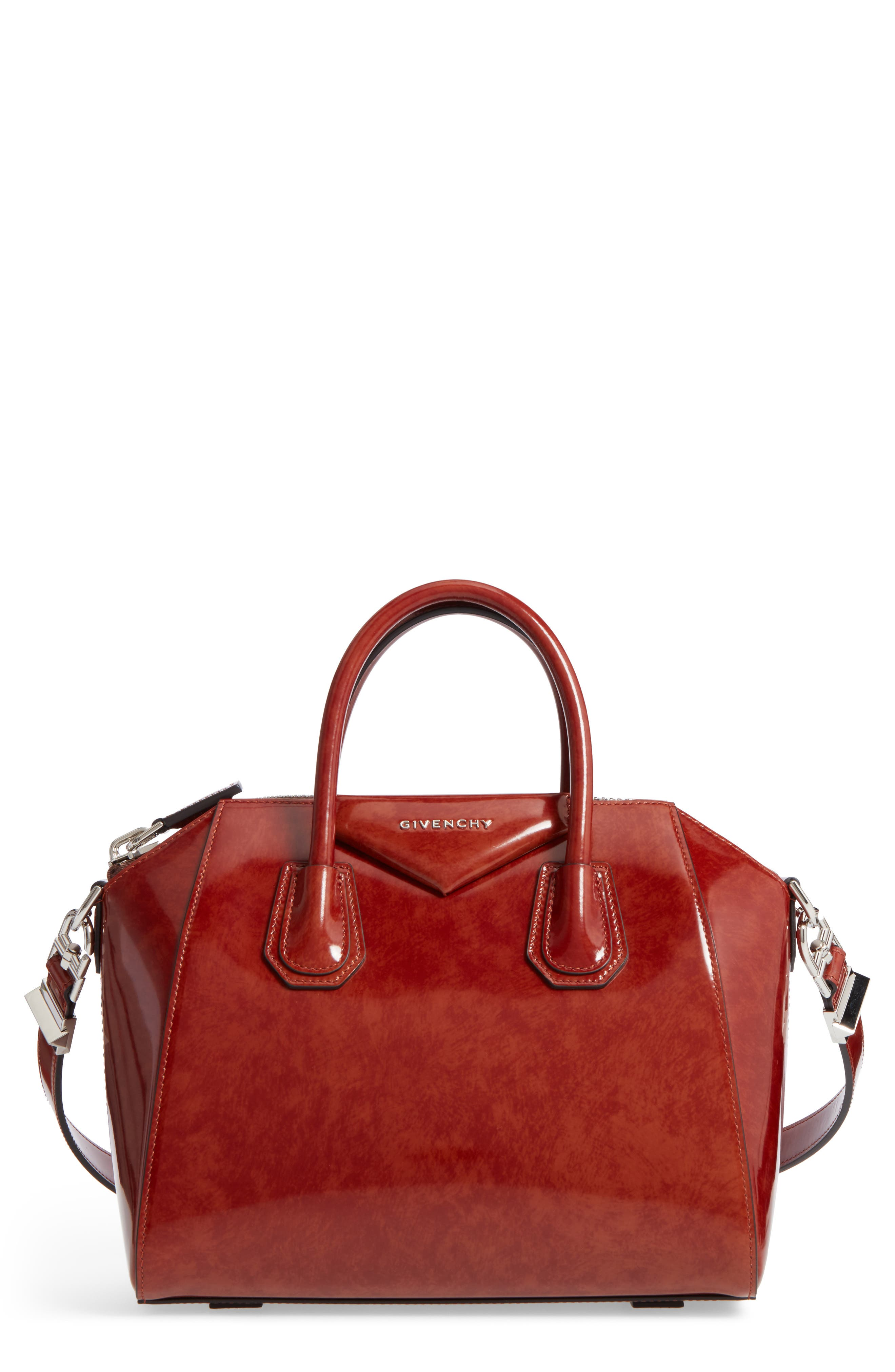 Small Antigona Glazed Leather Satchel,                         Main,                         color, Light Brown