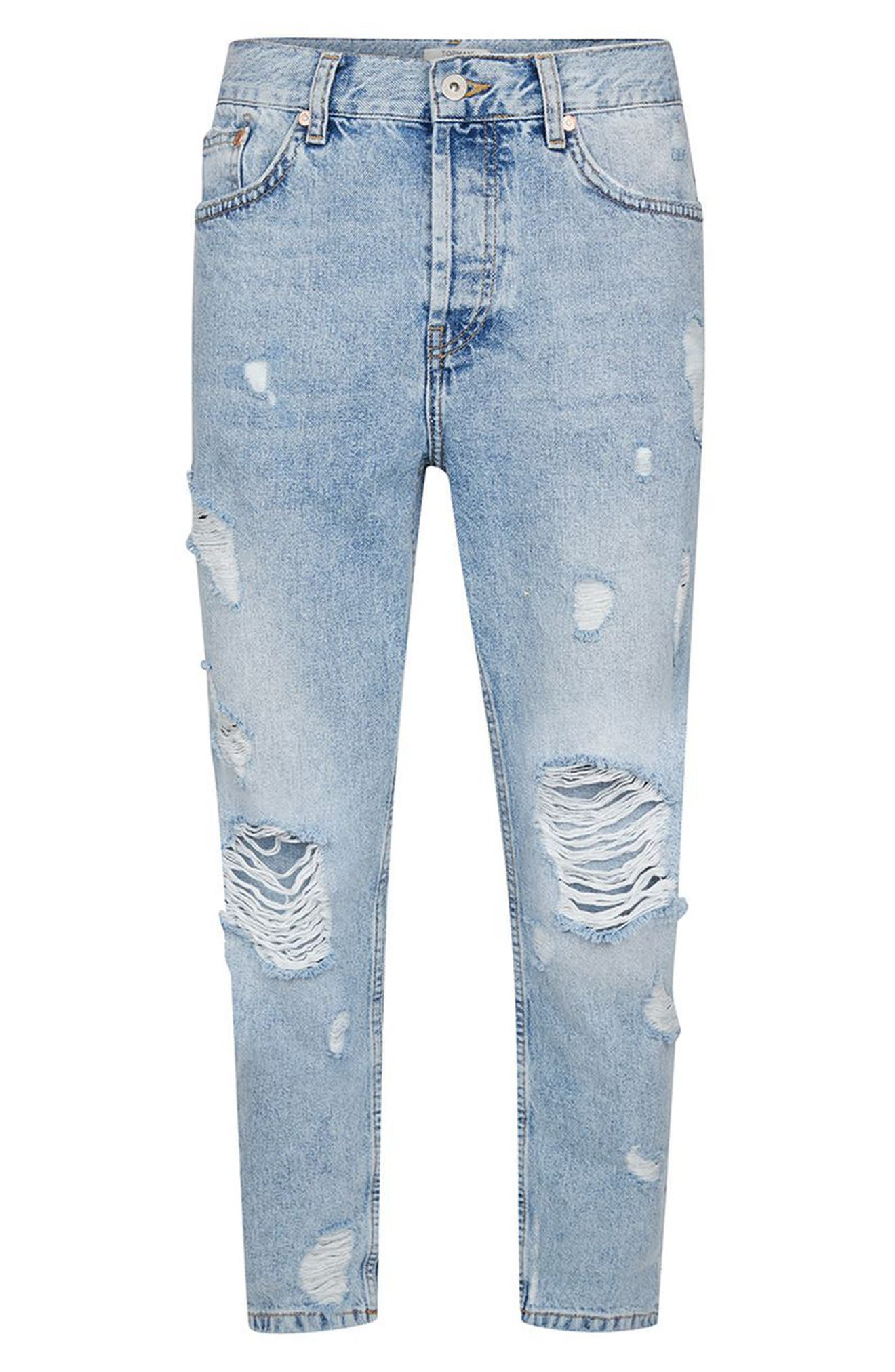 Topshop Extreme Rip Tapered Jeans,                             Alternate thumbnail 4, color,                             Light Blue