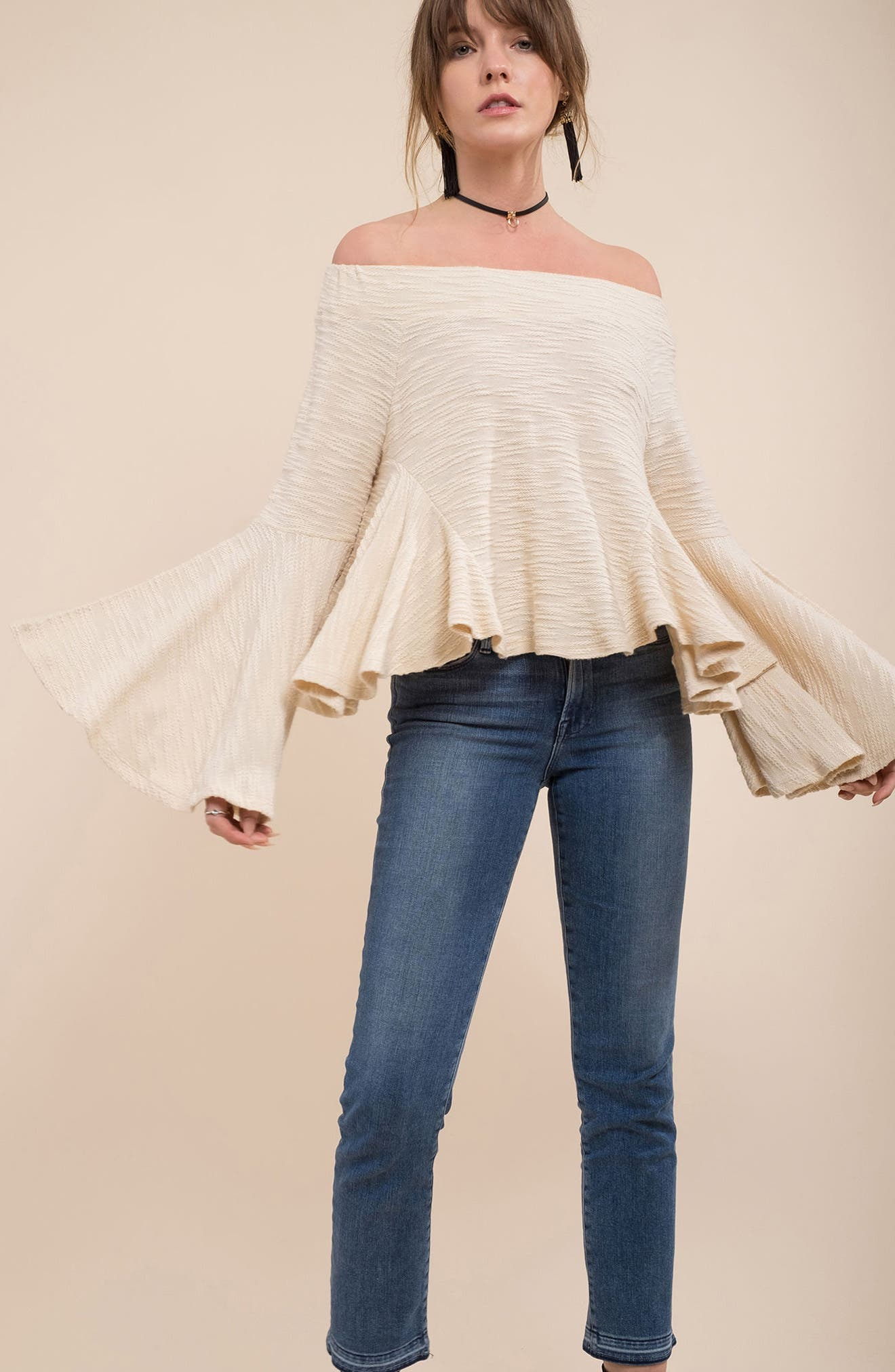 Alternate Image 2  - MOON RIVER Off the Shoulder Bell Sleeve Top