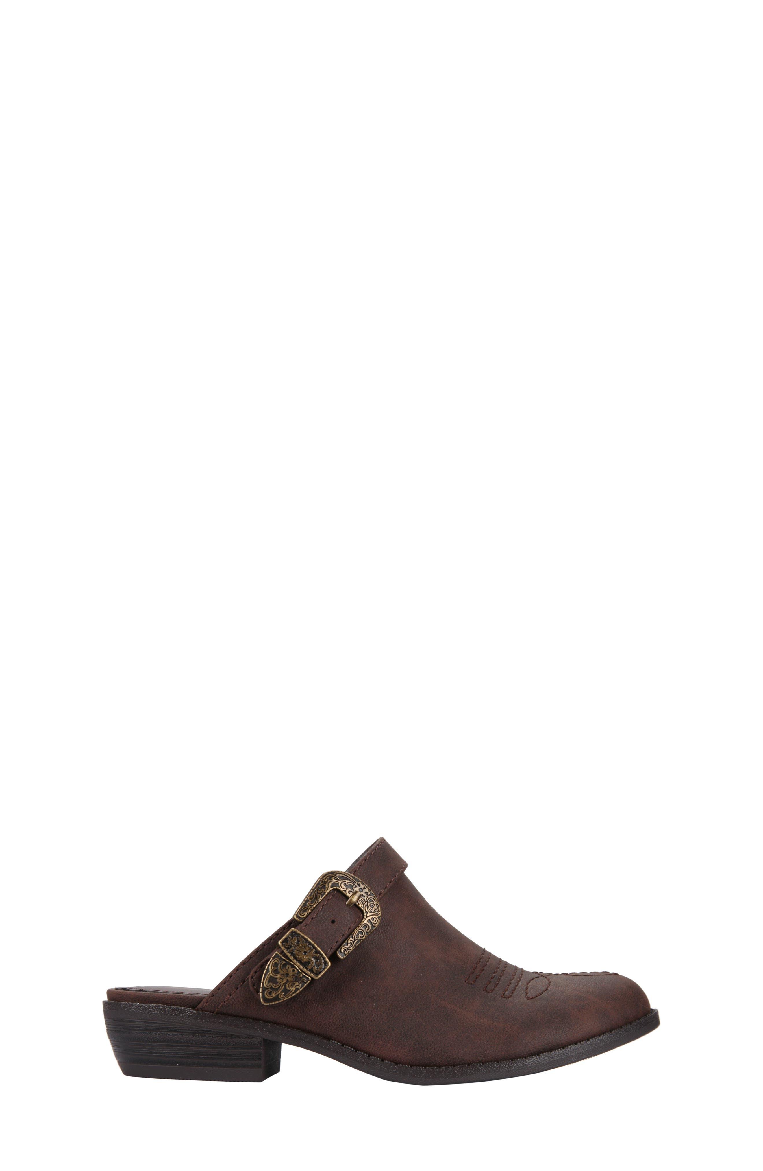 Deb Swivel Strap Clog,                             Alternate thumbnail 3, color,                             Brown Faux Leather