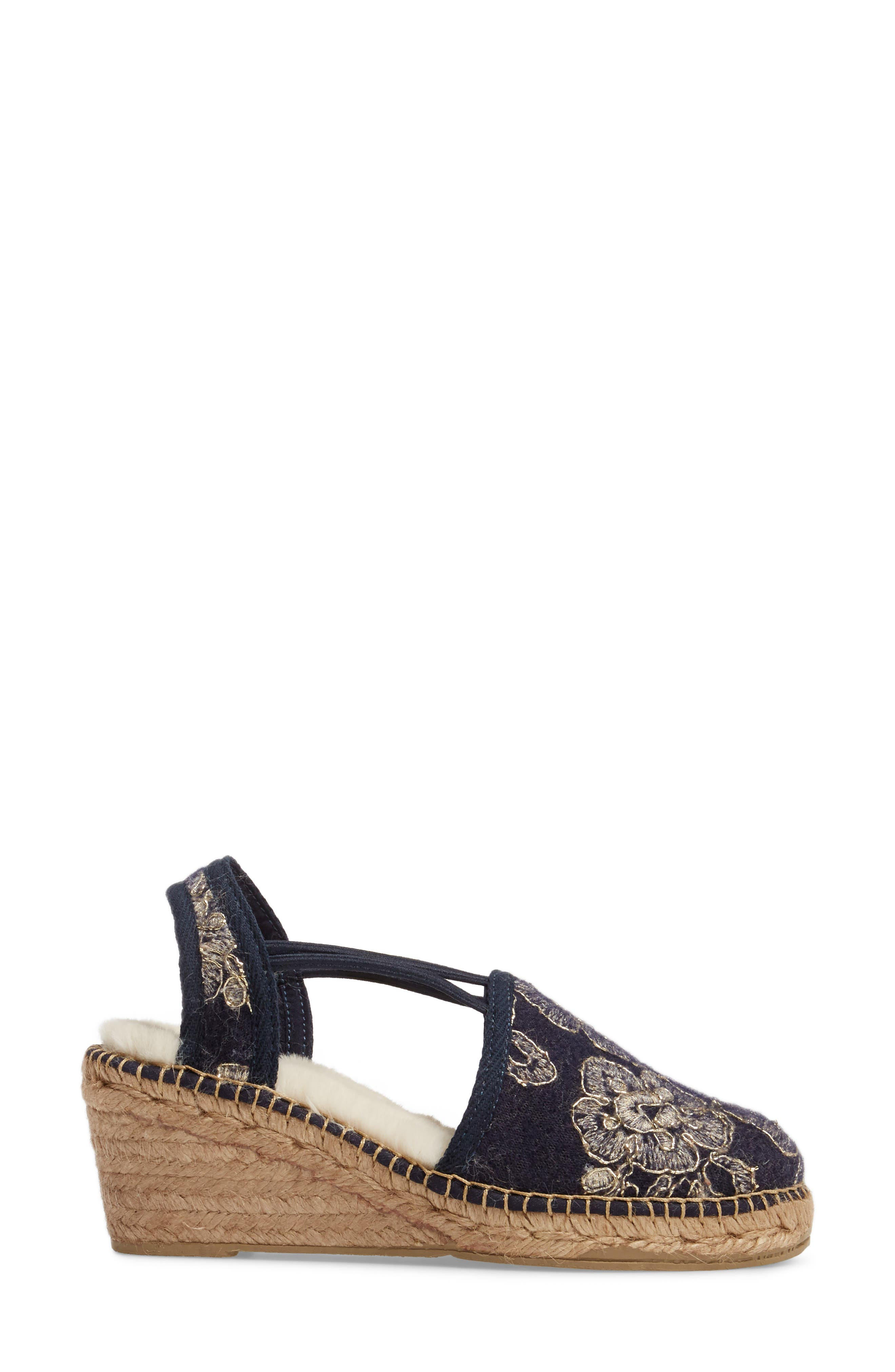 Medan Faux Fur Lined Espadrille Wedge,                             Alternate thumbnail 3, color,                             Navy Fabric