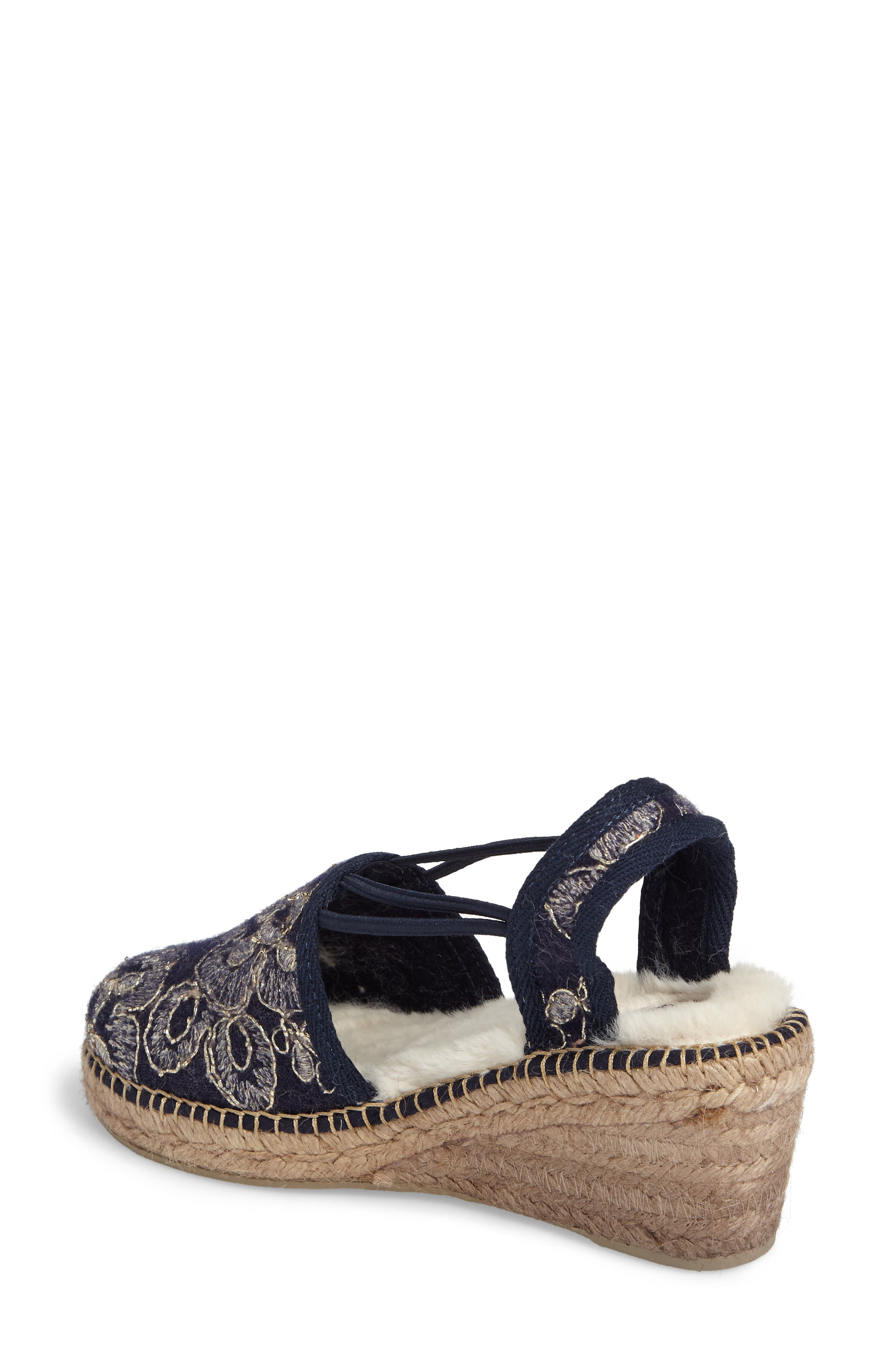 Medan Faux Fur Lined Espadrille Wedge,                             Alternate thumbnail 2, color,                             Navy Fabric
