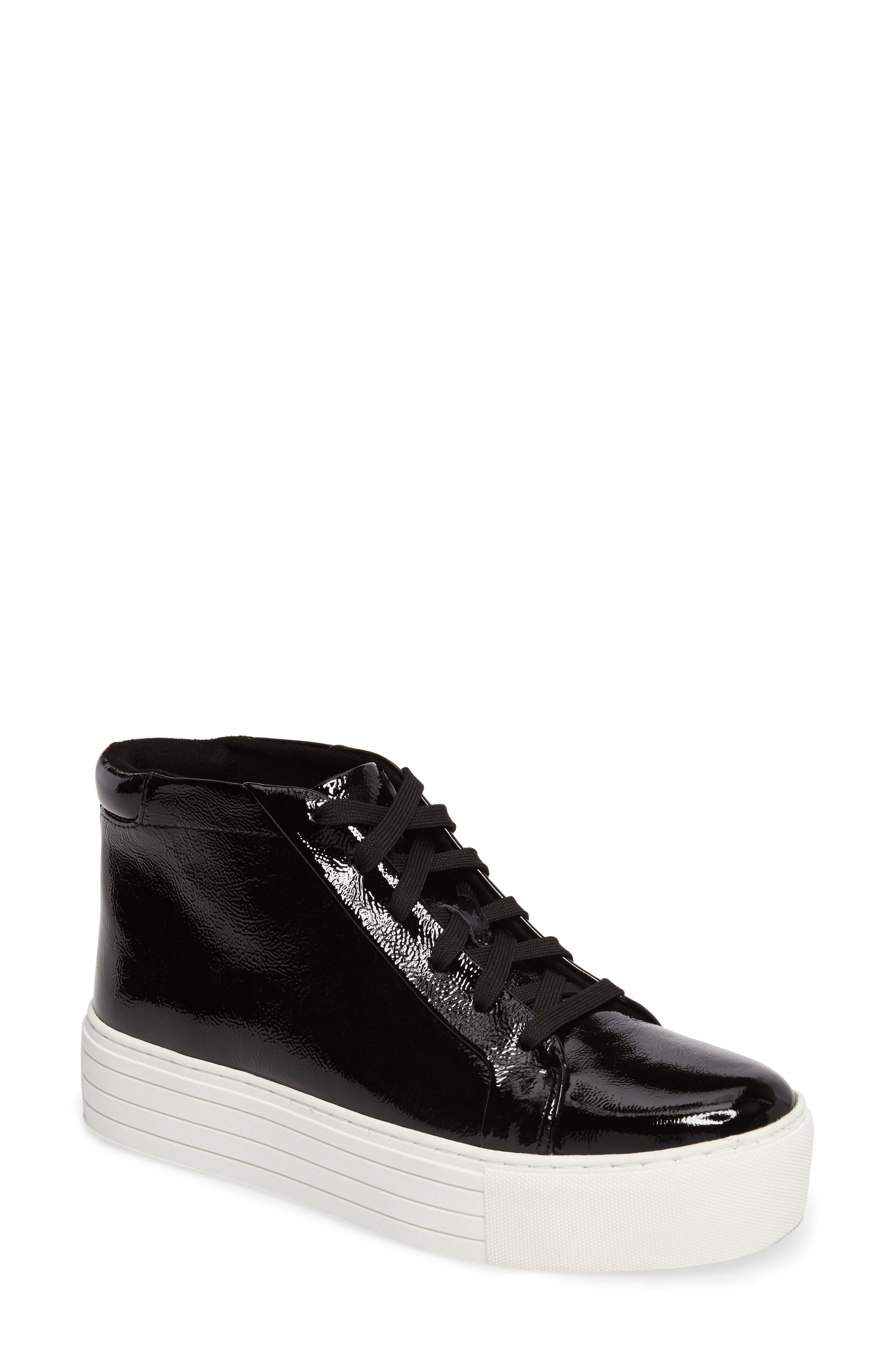 Janette High Top Platform Sneaker,                             Main thumbnail 1, color,                             Black Patent Leather