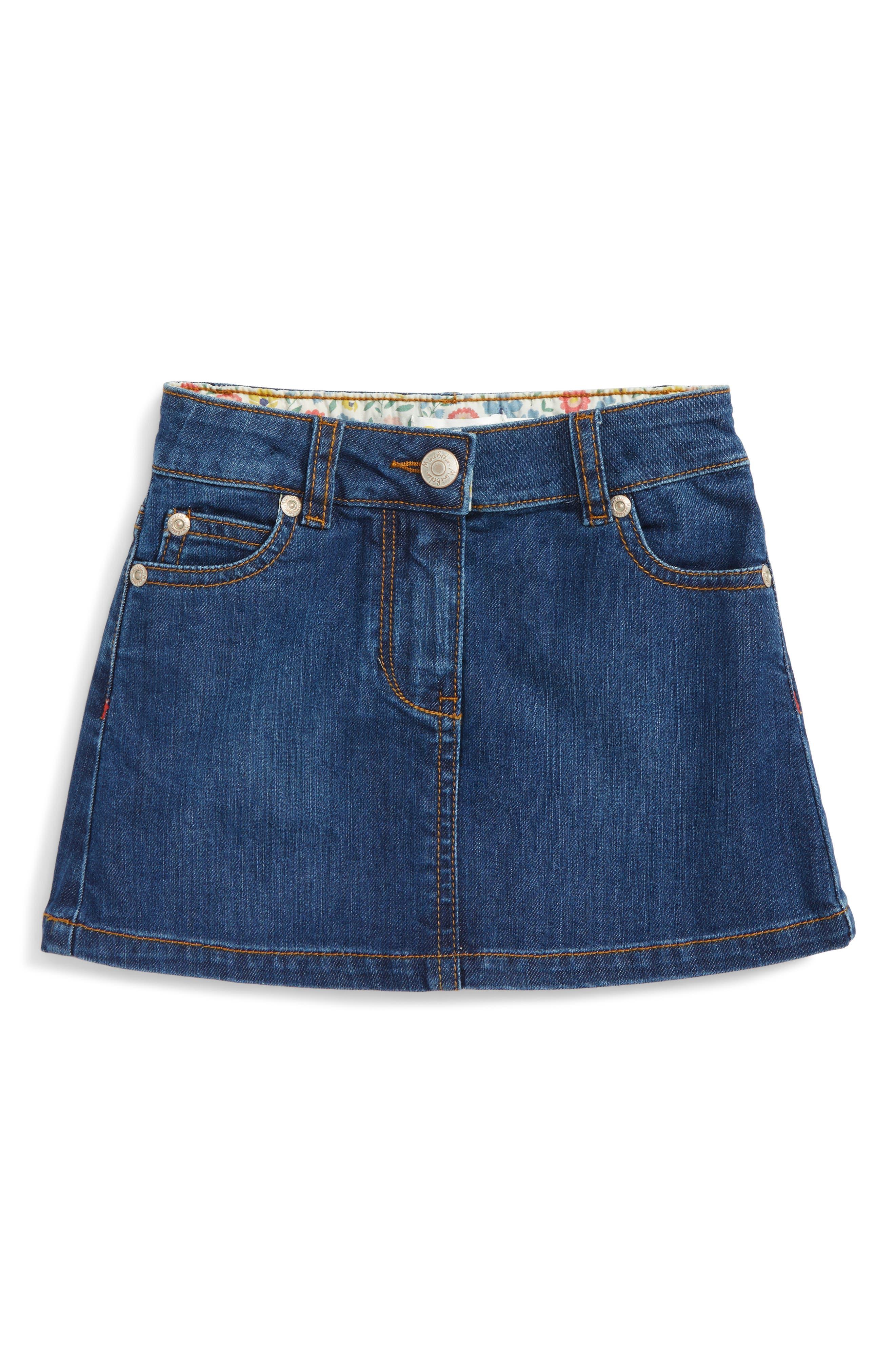 Main Image - Mini Boden Heart Pocket Denim Skirt (Toddler Girls, Little Girls & Big Girls)