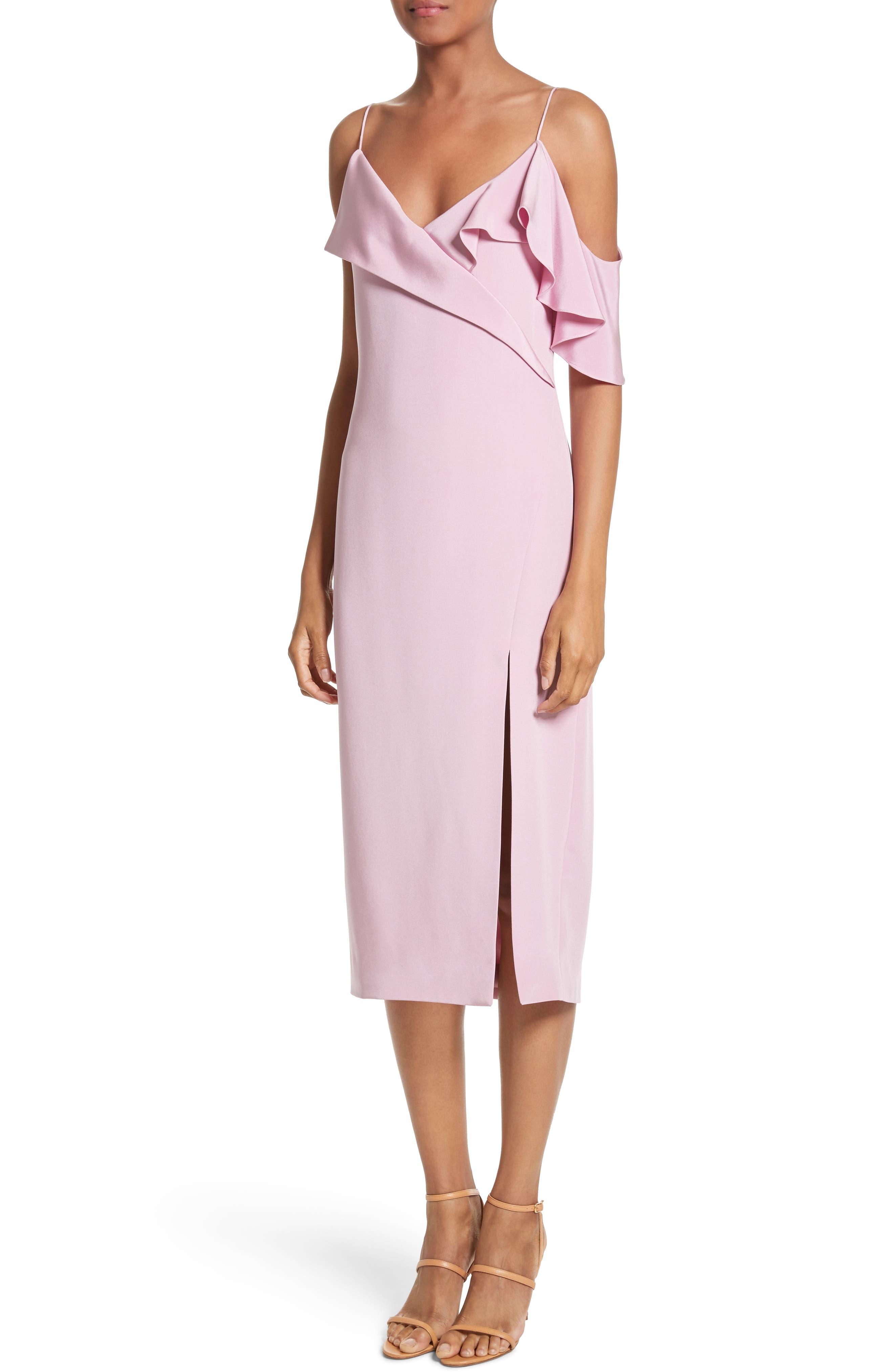 Asymmetrical Ruffle Silk Dress,                             Alternate thumbnail 6, color,                             Quartz