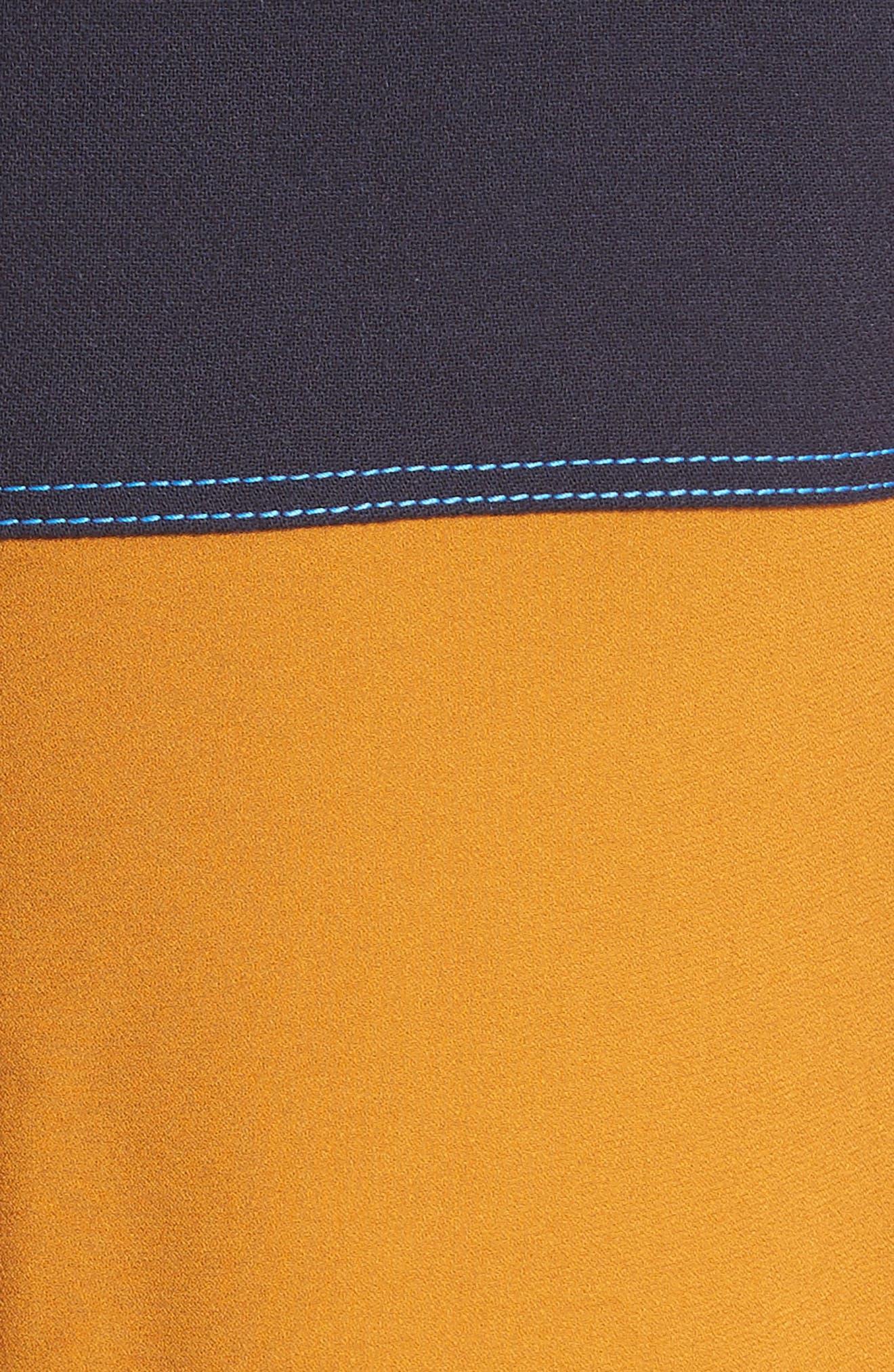 Colorblock Double Face Crepe Dress,                             Alternate thumbnail 6, color,                             Black/ Blue