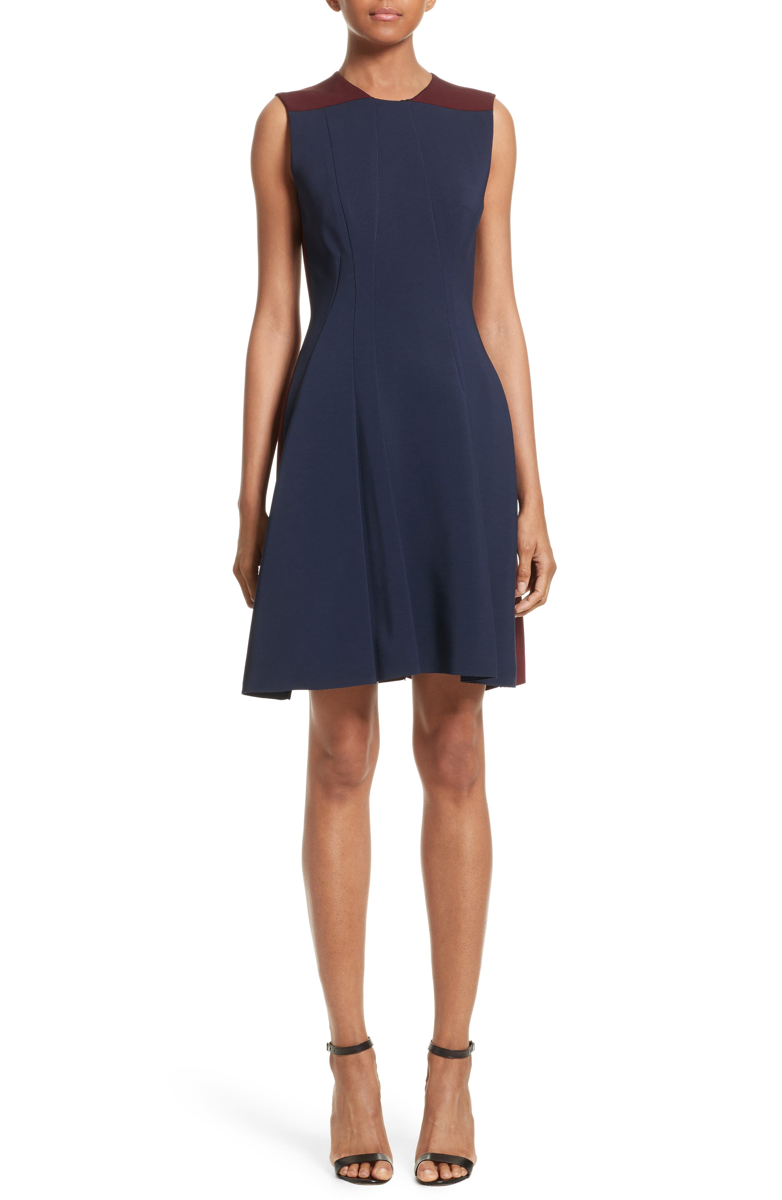 Colorblock Fit & Flare Dress,                         Main,                         color, Navy