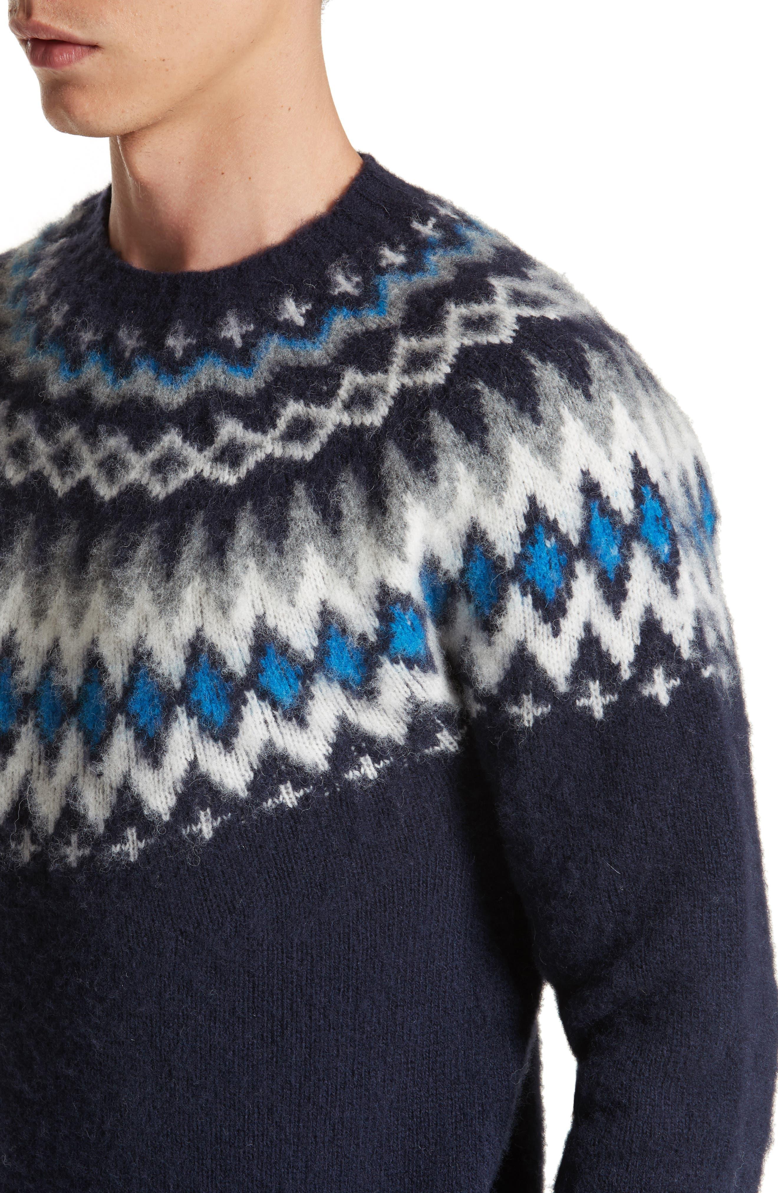 Nirnir Fair Isle Lambswool Sweater,                             Alternate thumbnail 4, color,                             Navy