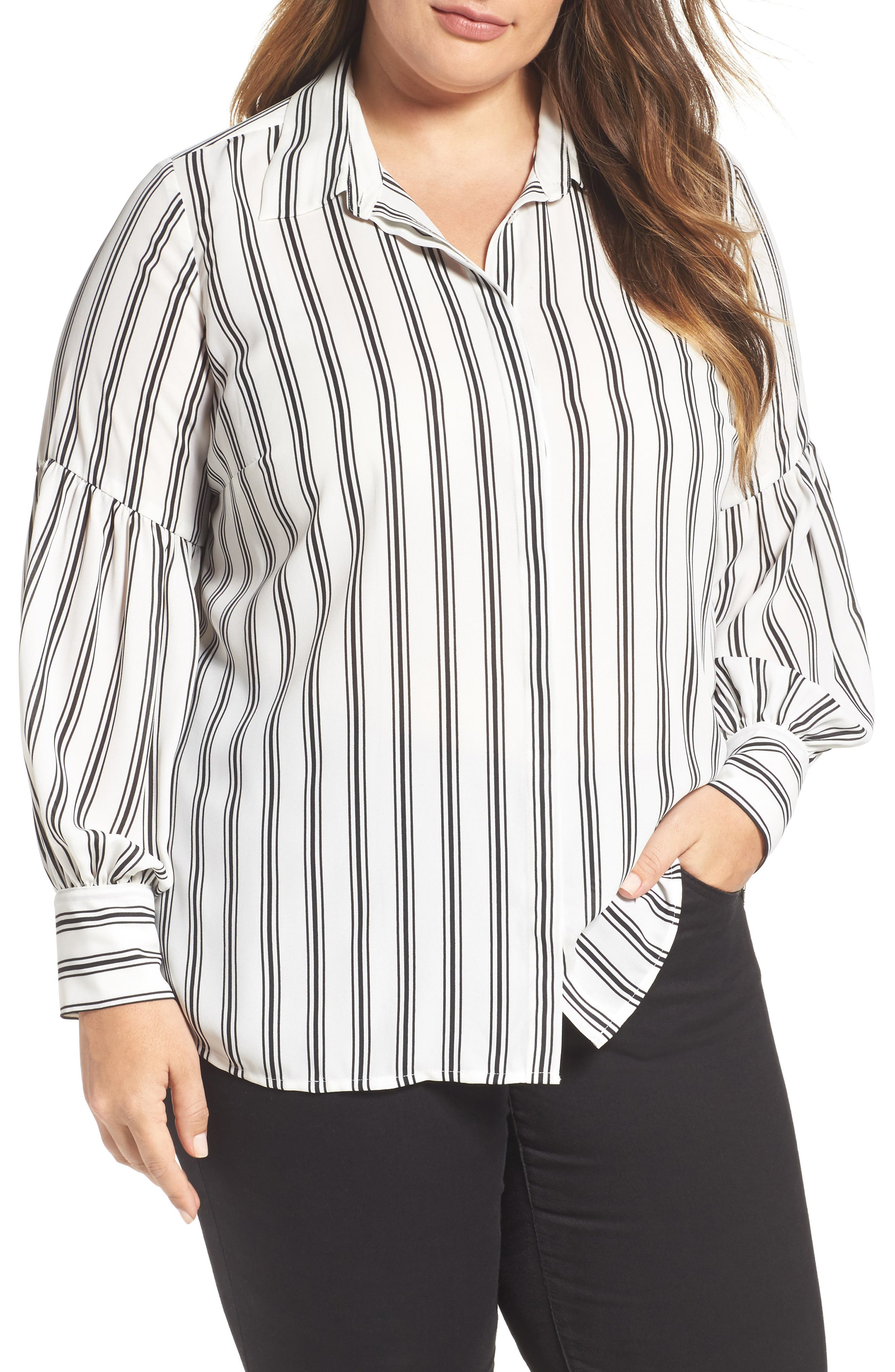 Vince Camuto Stripe Puff Sleeve Blouse (Plus Size)