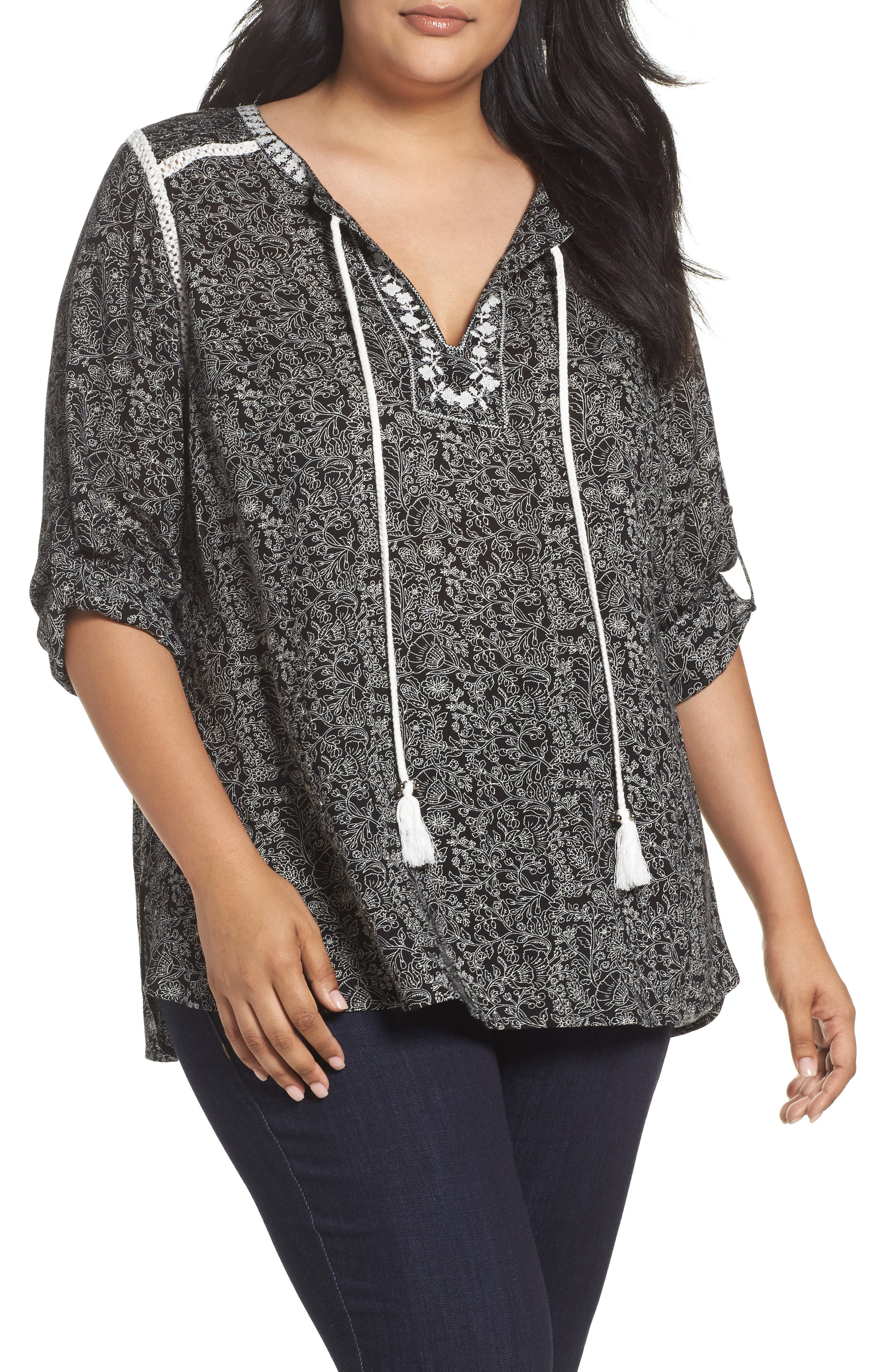 Daniel Rainn Floral Print Peasant Top (Plus Size)
