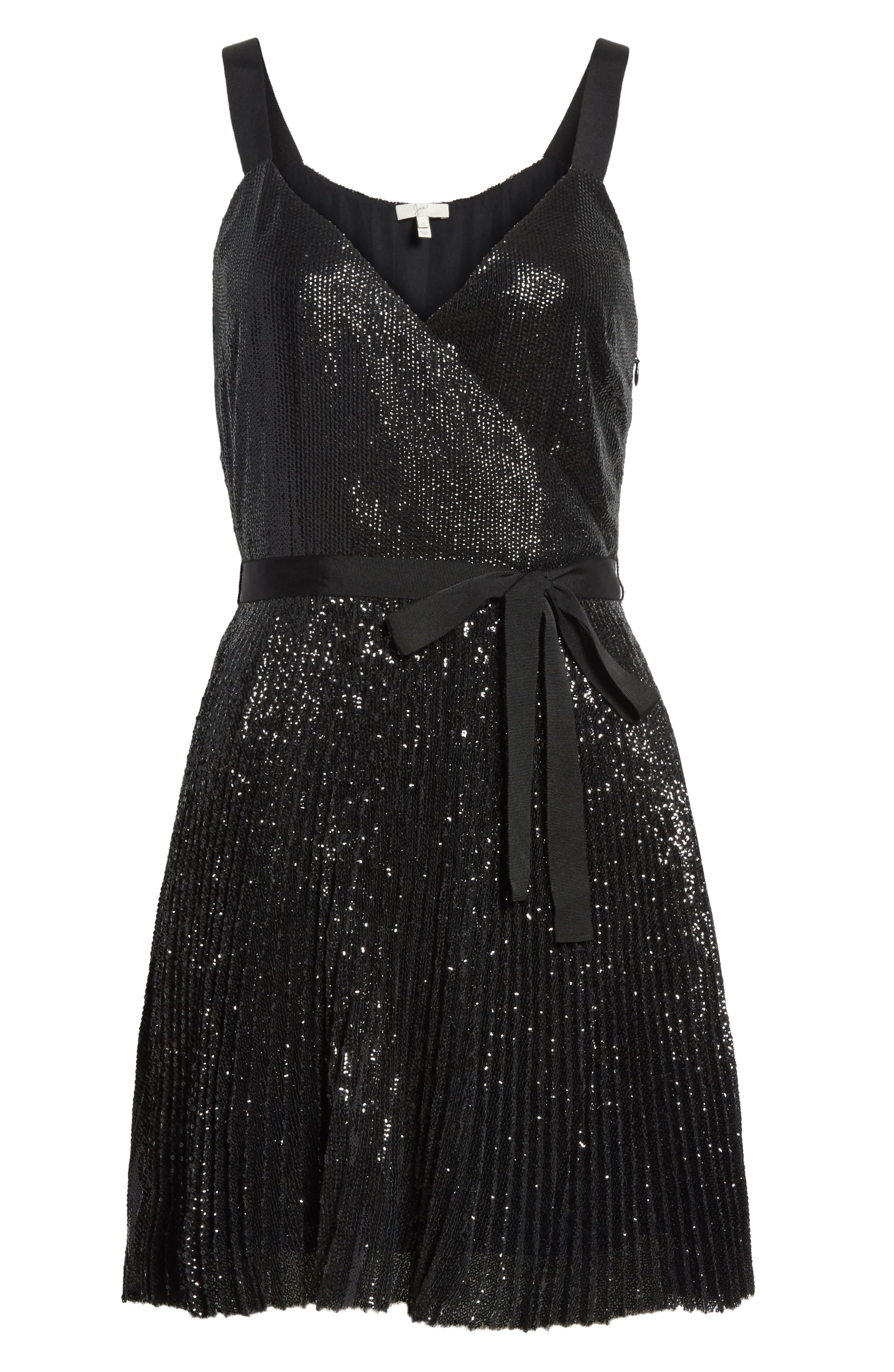 Itara Sequin Mesh Dress,                             Alternate thumbnail 6, color,                             Caviar
