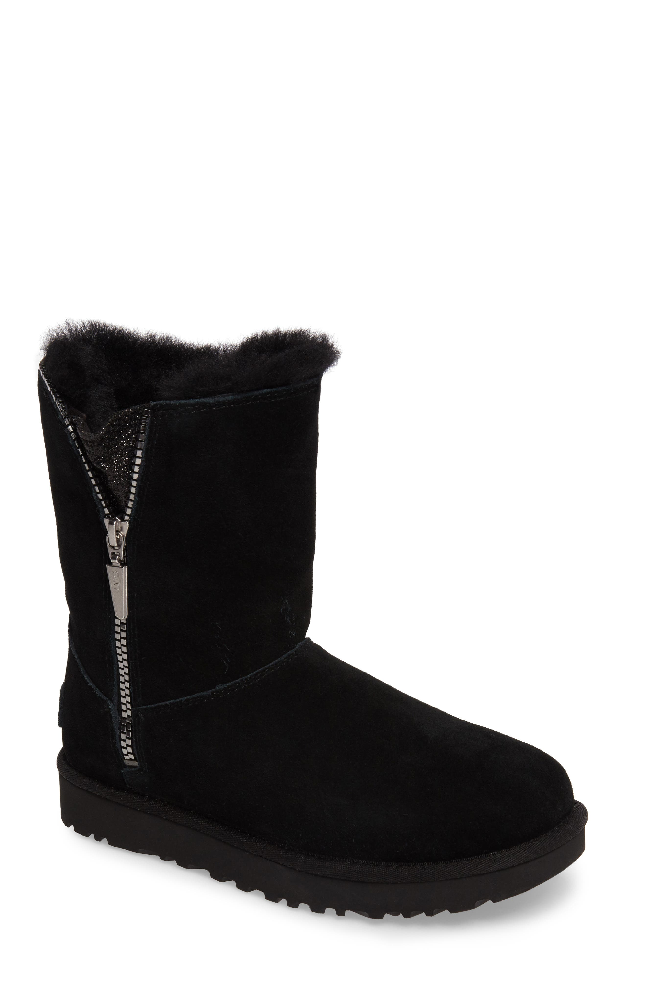 Marice Glitter Inset Boot,                             Main thumbnail 1, color,                             Black Suede