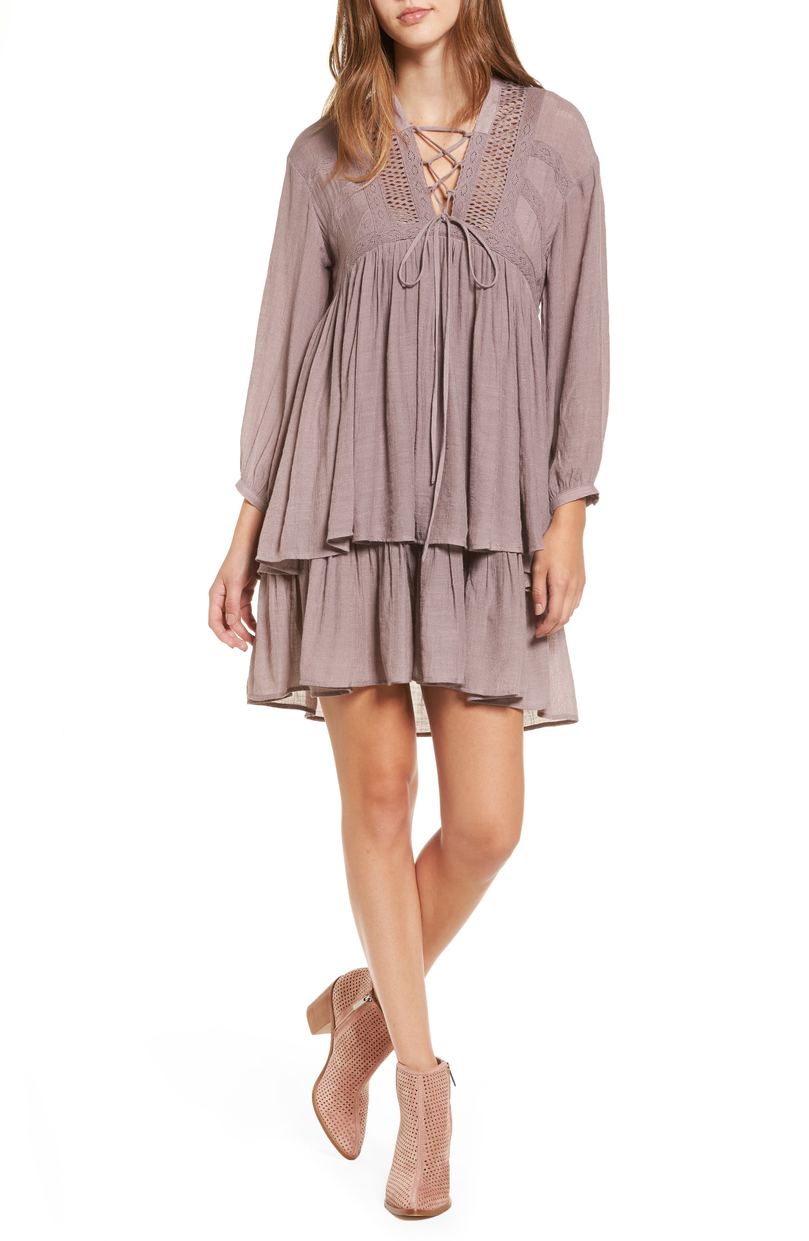 Alternate Image 1 Selected - Sun & Shadow Lace-Up Peasant Dress