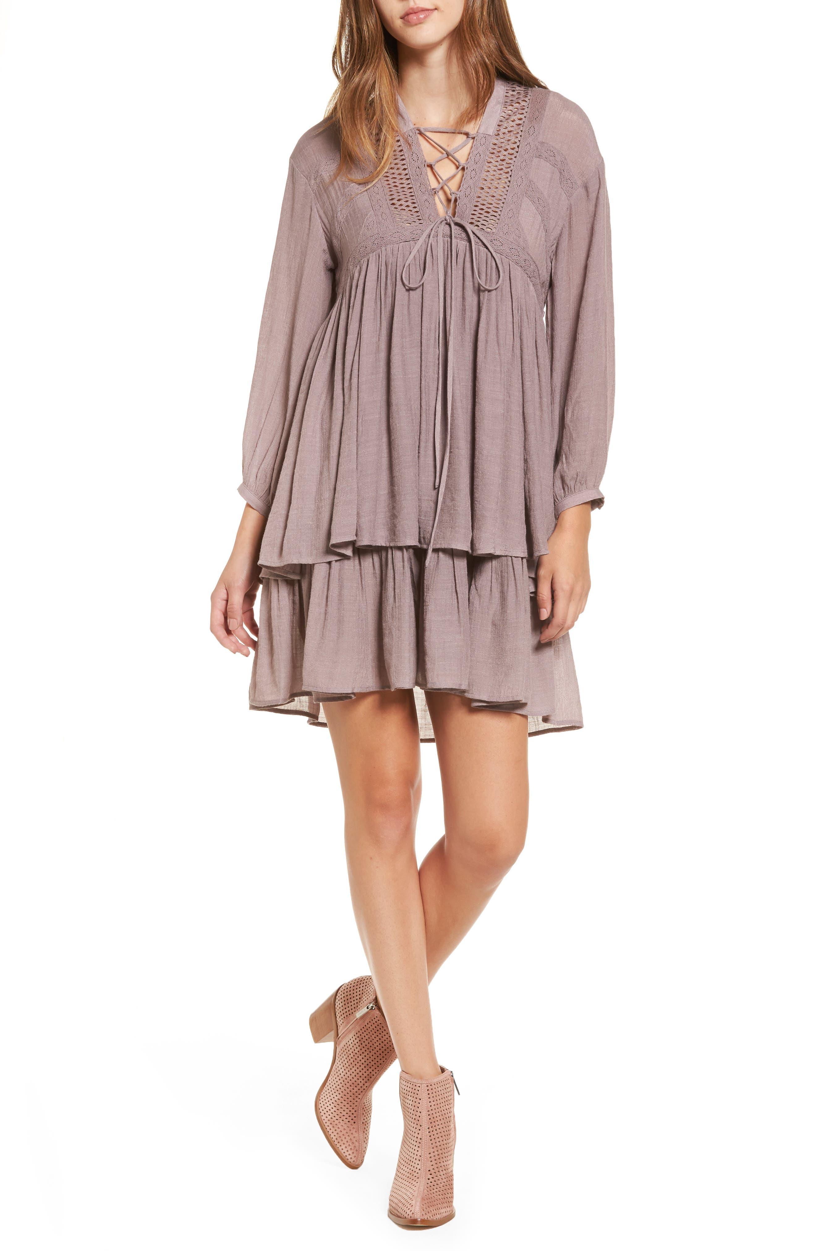 Lace-Up Peasant Dress,                             Main thumbnail 1, color,                             Purple Peace