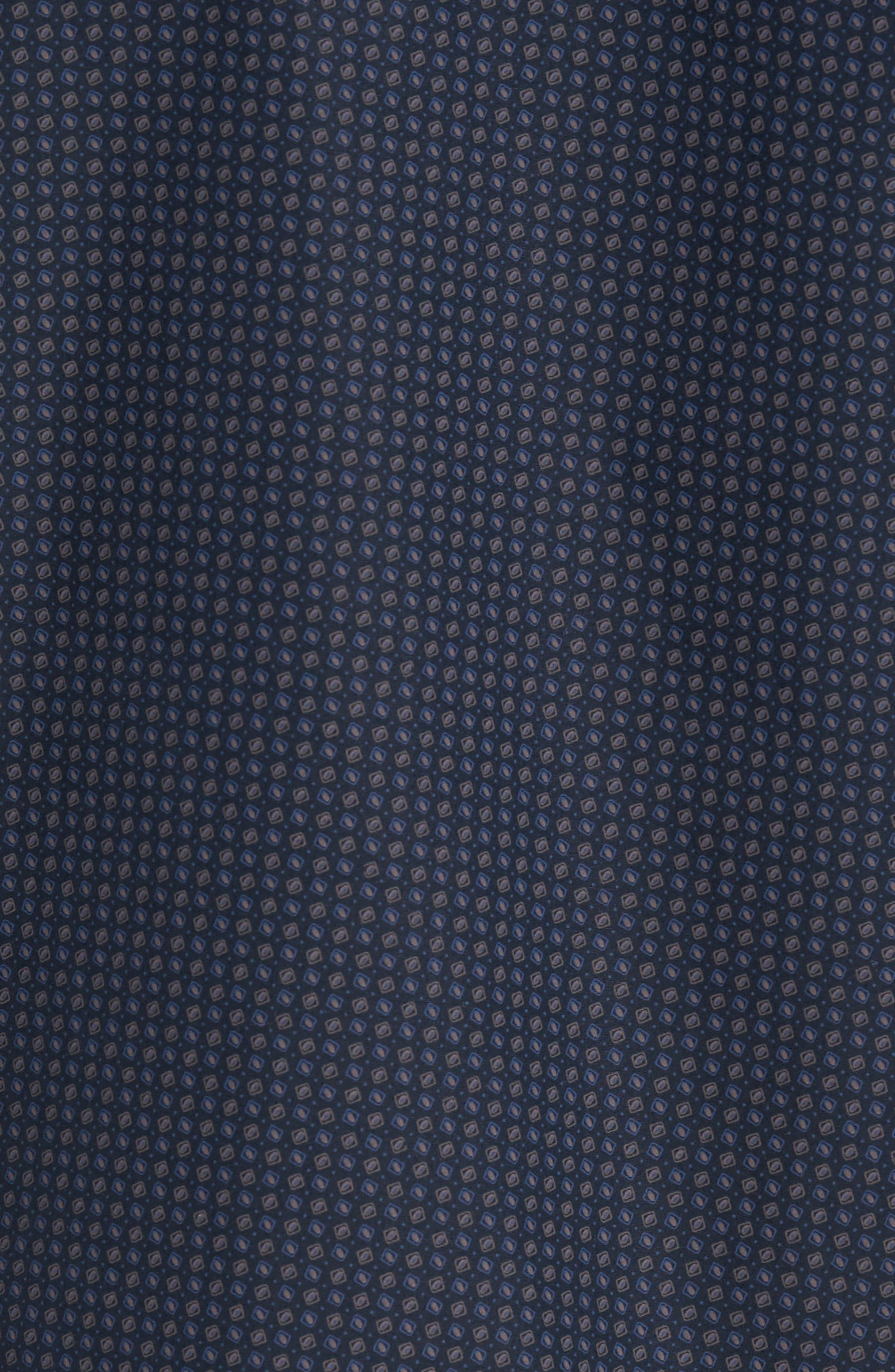 Slim Fit Print Sport Shirt,                             Alternate thumbnail 5, color,                             Navy