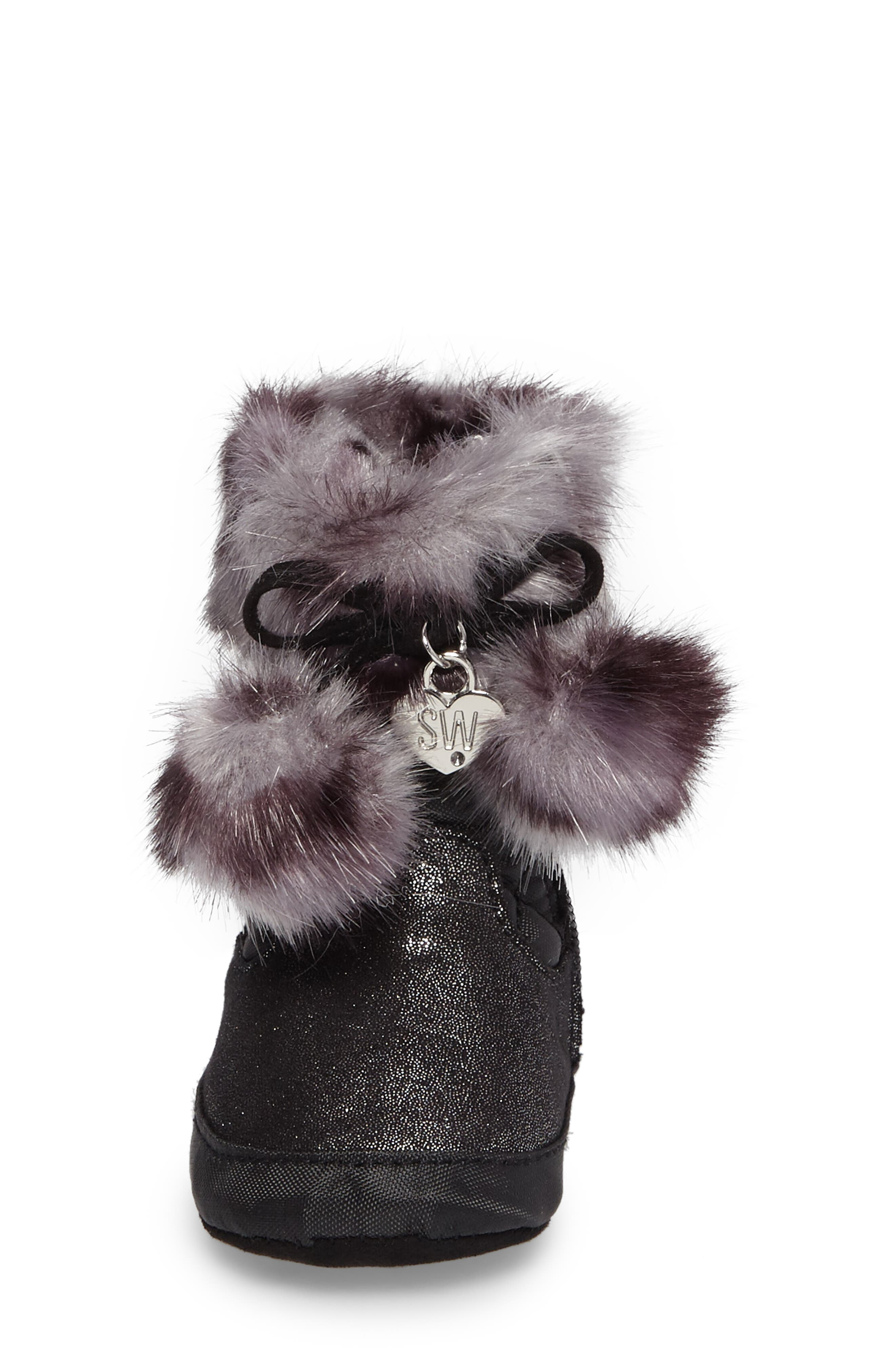 Baby Sparkle Faux Fur Crib Bootie,                             Alternate thumbnail 4, color,                             Black Shimmer