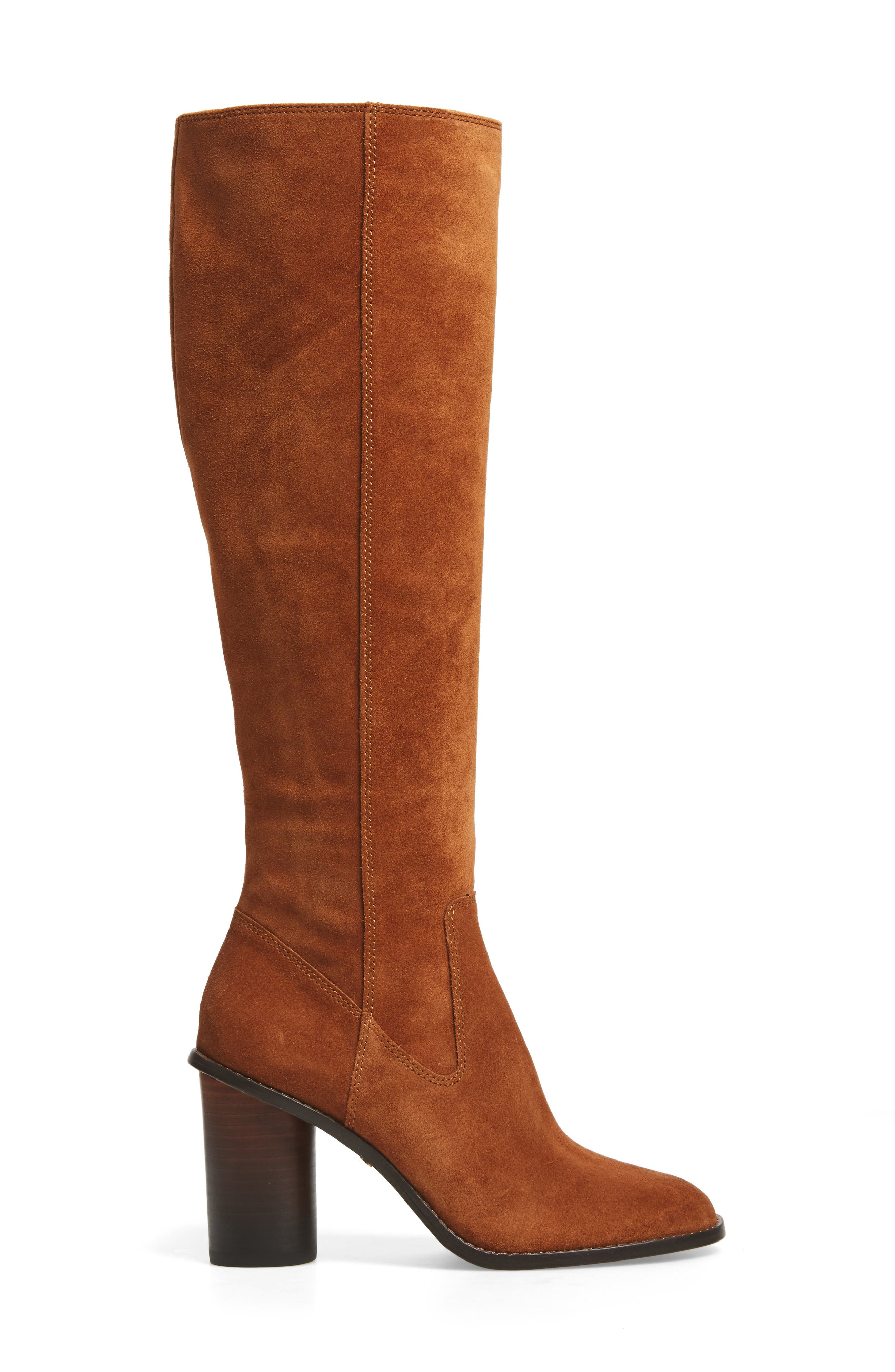Ombré Knee High Boot,                             Alternate thumbnail 3, color,                             Saddle Suede