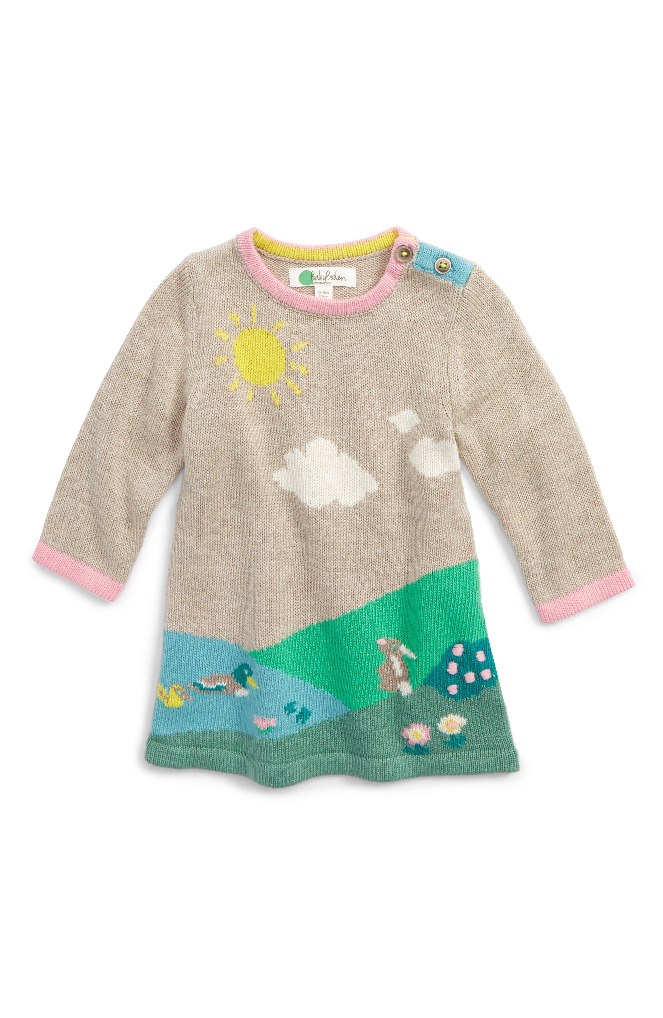 Main Image - Mini Boden River Bank Intarsia Knit Dress (Baby Girls & Toddler Girls)