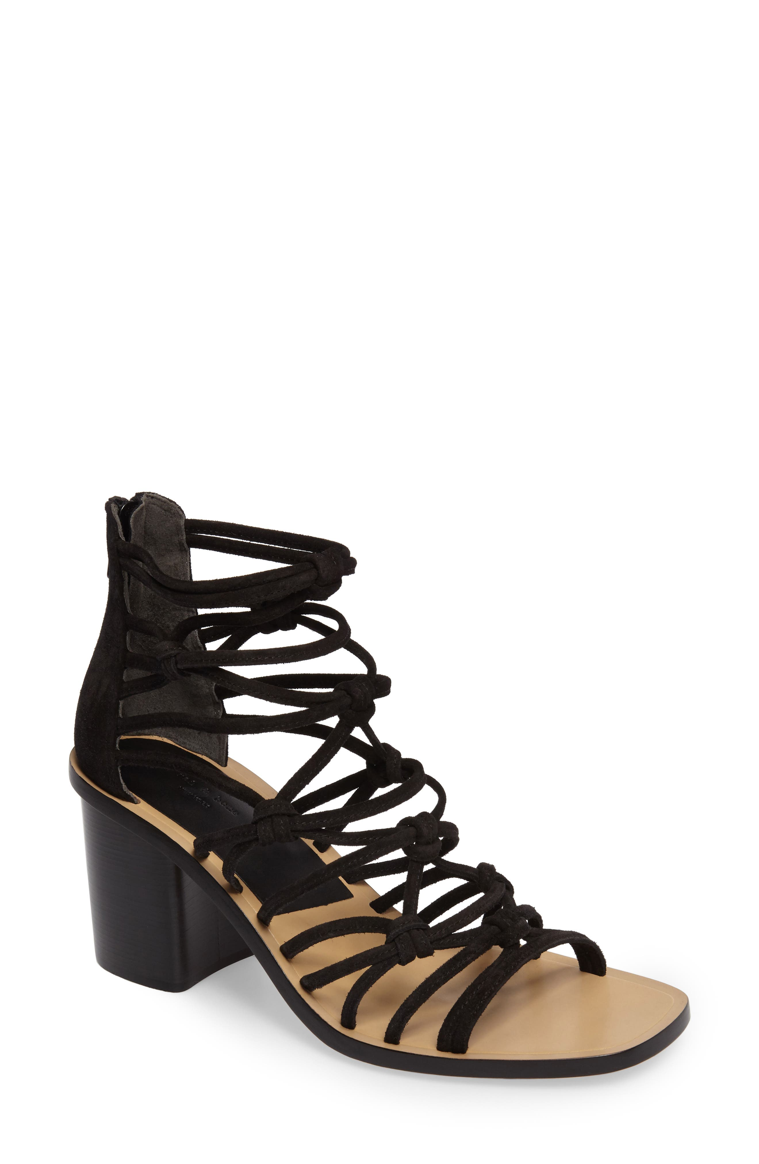 Camille Knotted Strappy Sandal,                         Main,                         color, Black Suede