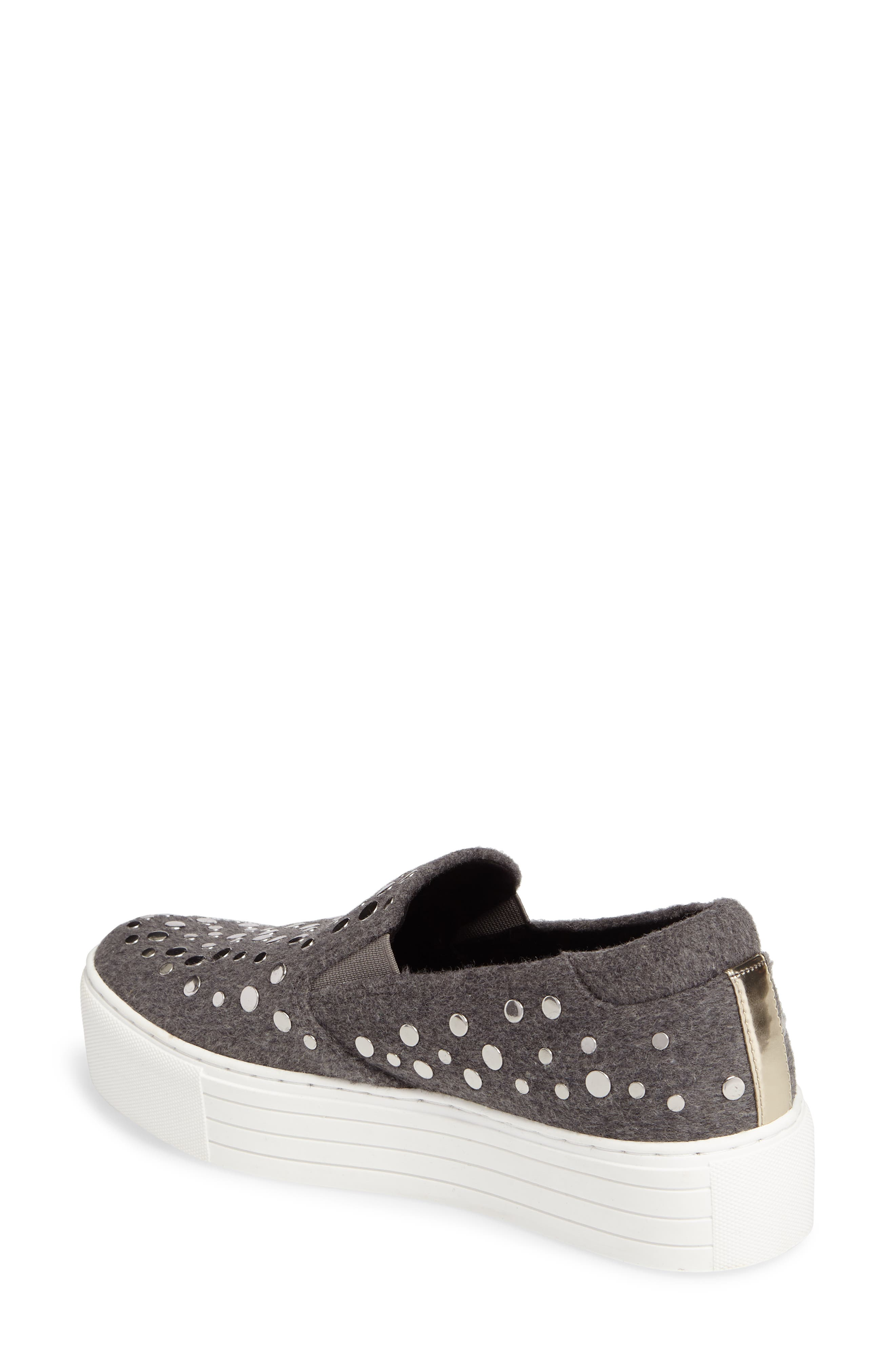 Jeyda Slip-On Sneaker,                             Alternate thumbnail 4, color,                             Grey Felt Fabric