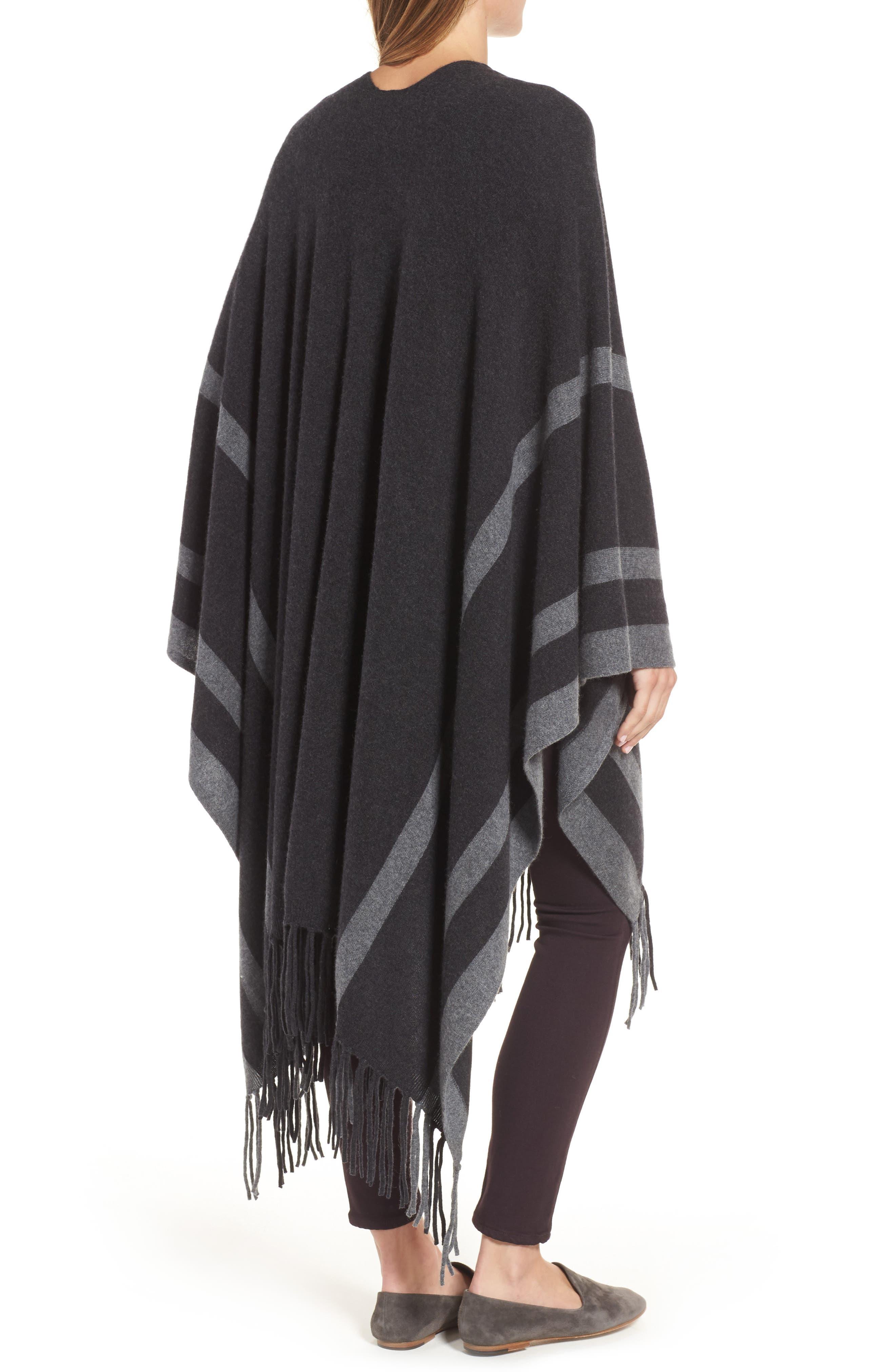 Luxe Stripe Cashmere Ruana,                             Alternate thumbnail 2, color,                             Black Rock Heather Combo