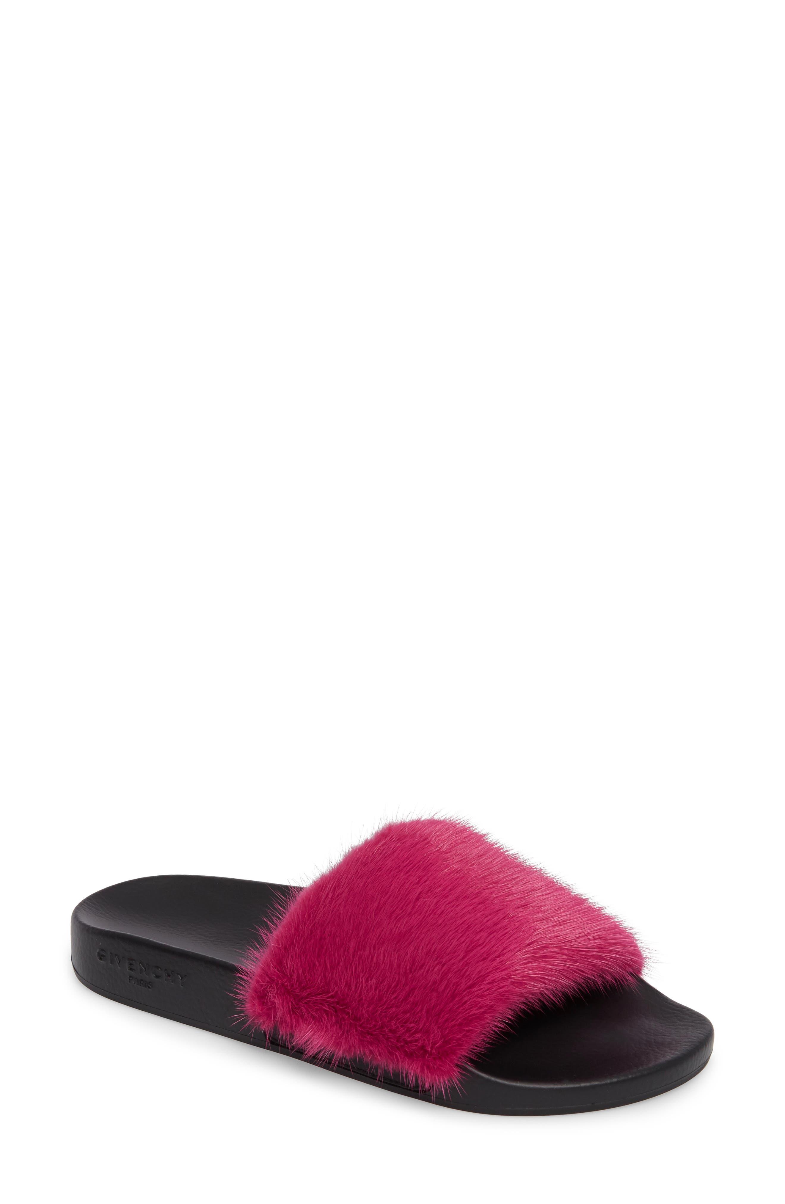 Alternate Image 1 Selected - Givenchy Genuine Mink Fur Slide Sandal (Women)