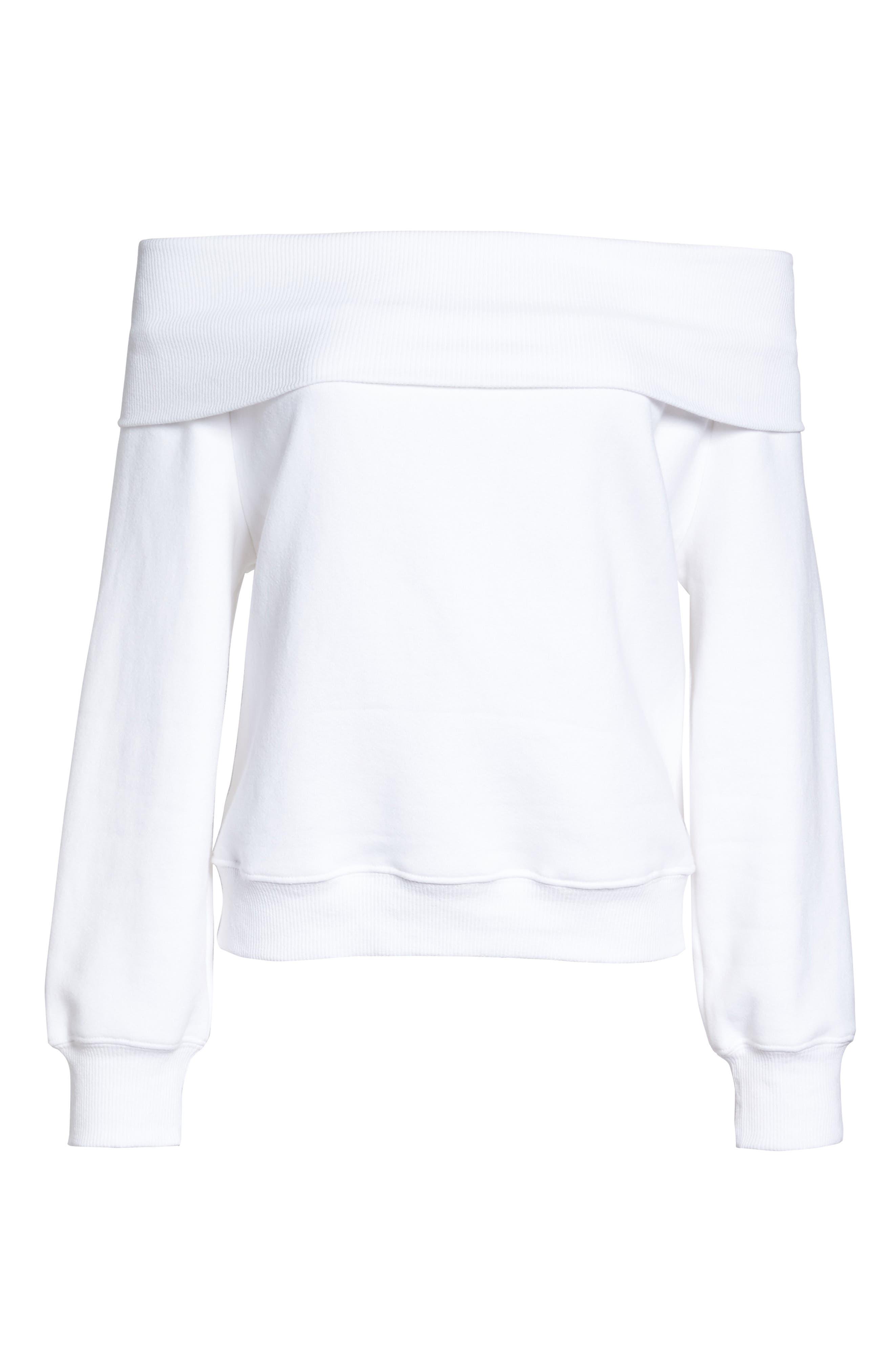 Alternate Image 9  - Good American Good Sweats The Cold Shoulder Sweatshirt (Regular & Plus Size)