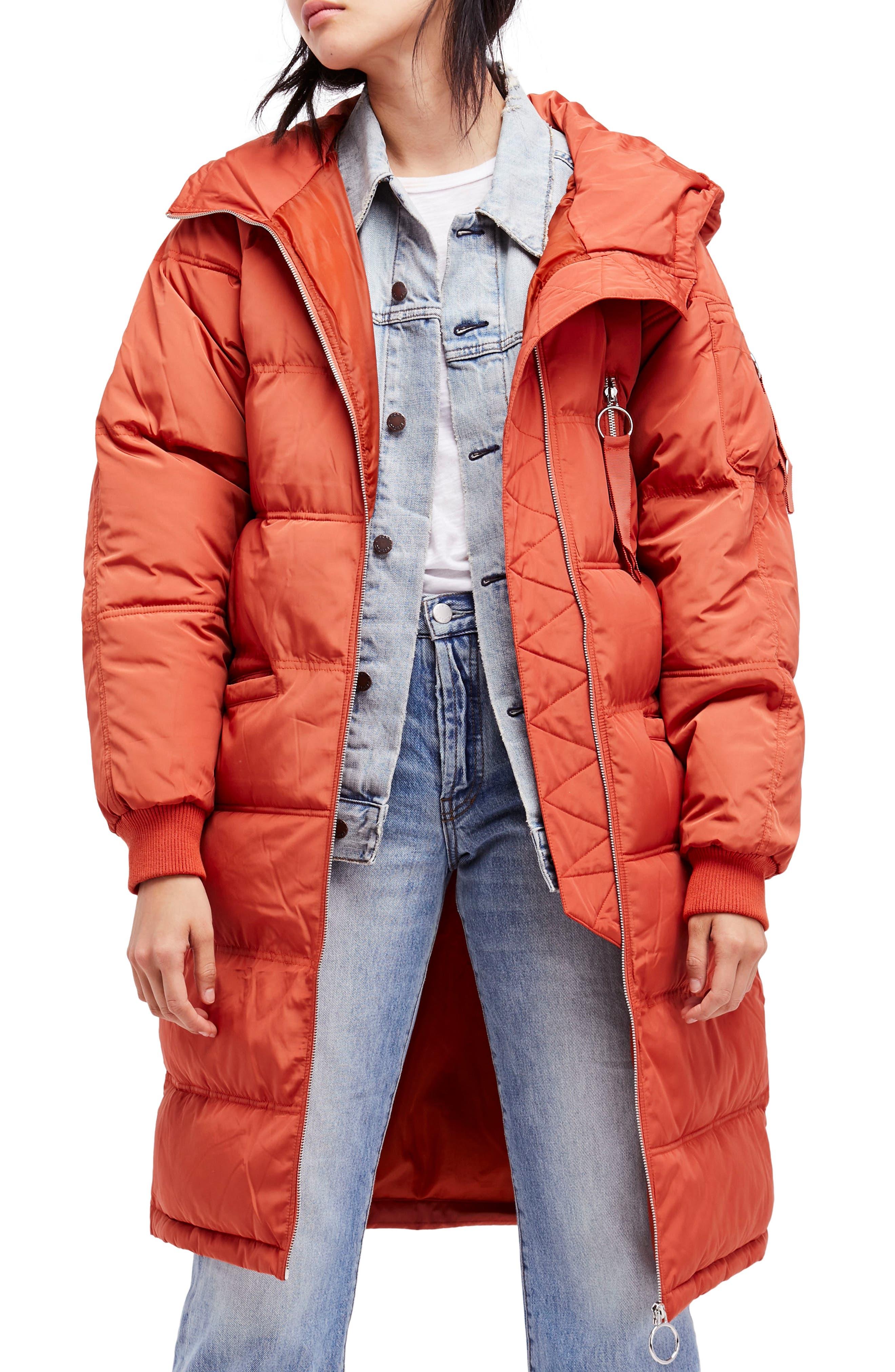 Raglan Long Puffer Coat,                         Main,                         color, Terracotta
