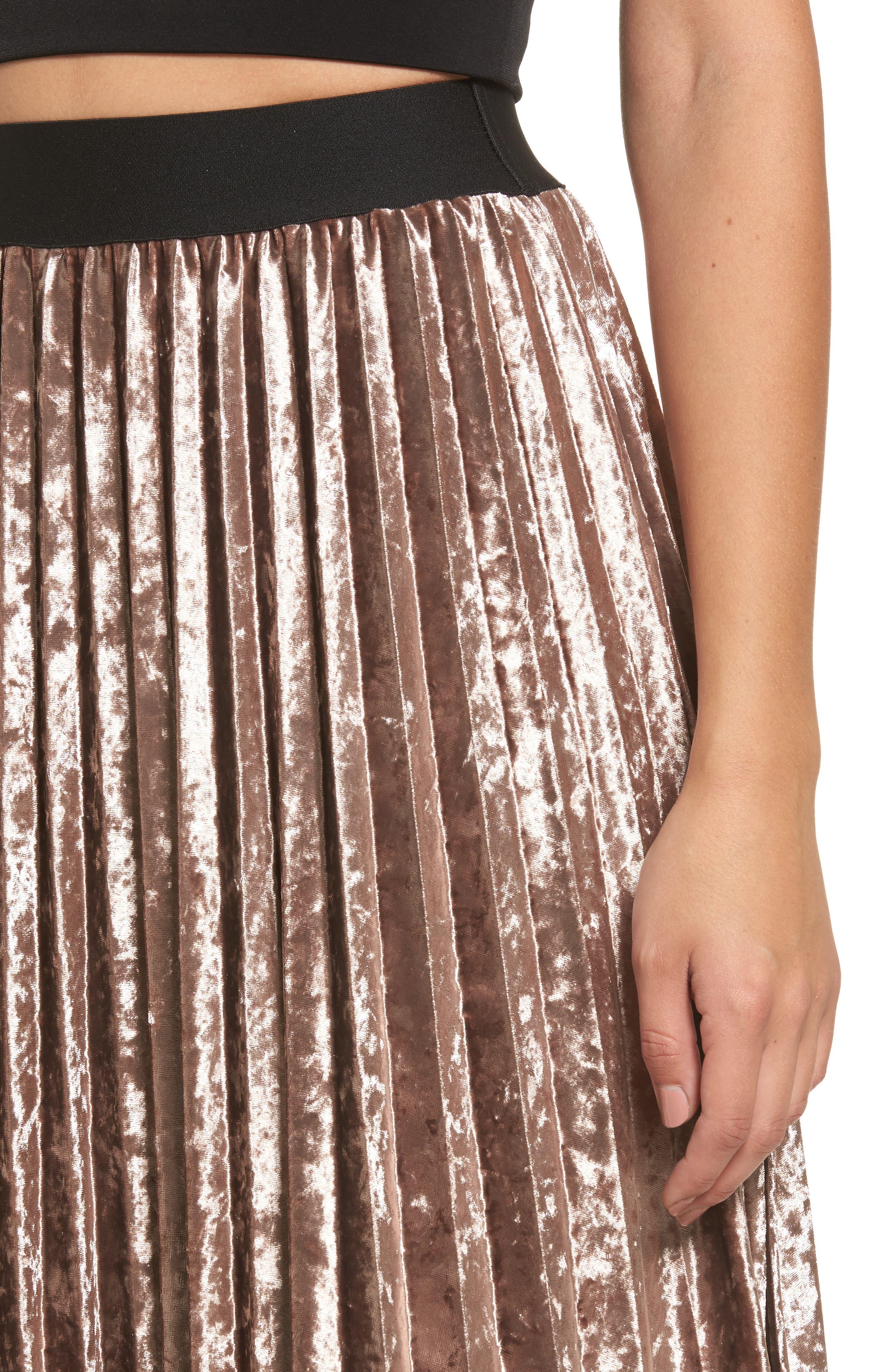Pleated Velvet Skirt,                             Alternate thumbnail 4, color,                             Mink