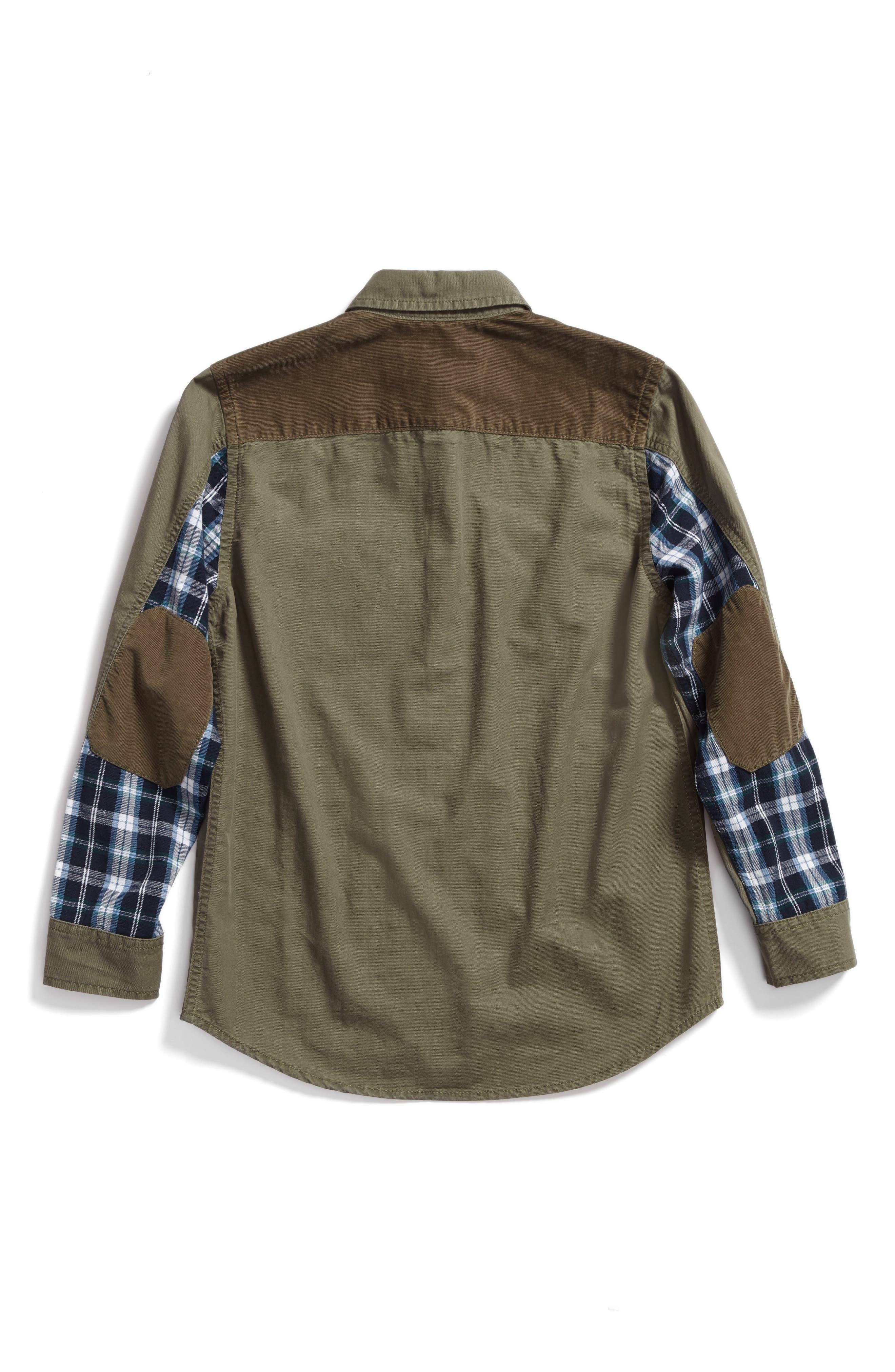 Mixed Media Woven Shirt,                             Alternate thumbnail 3, color,                             Olive Grove