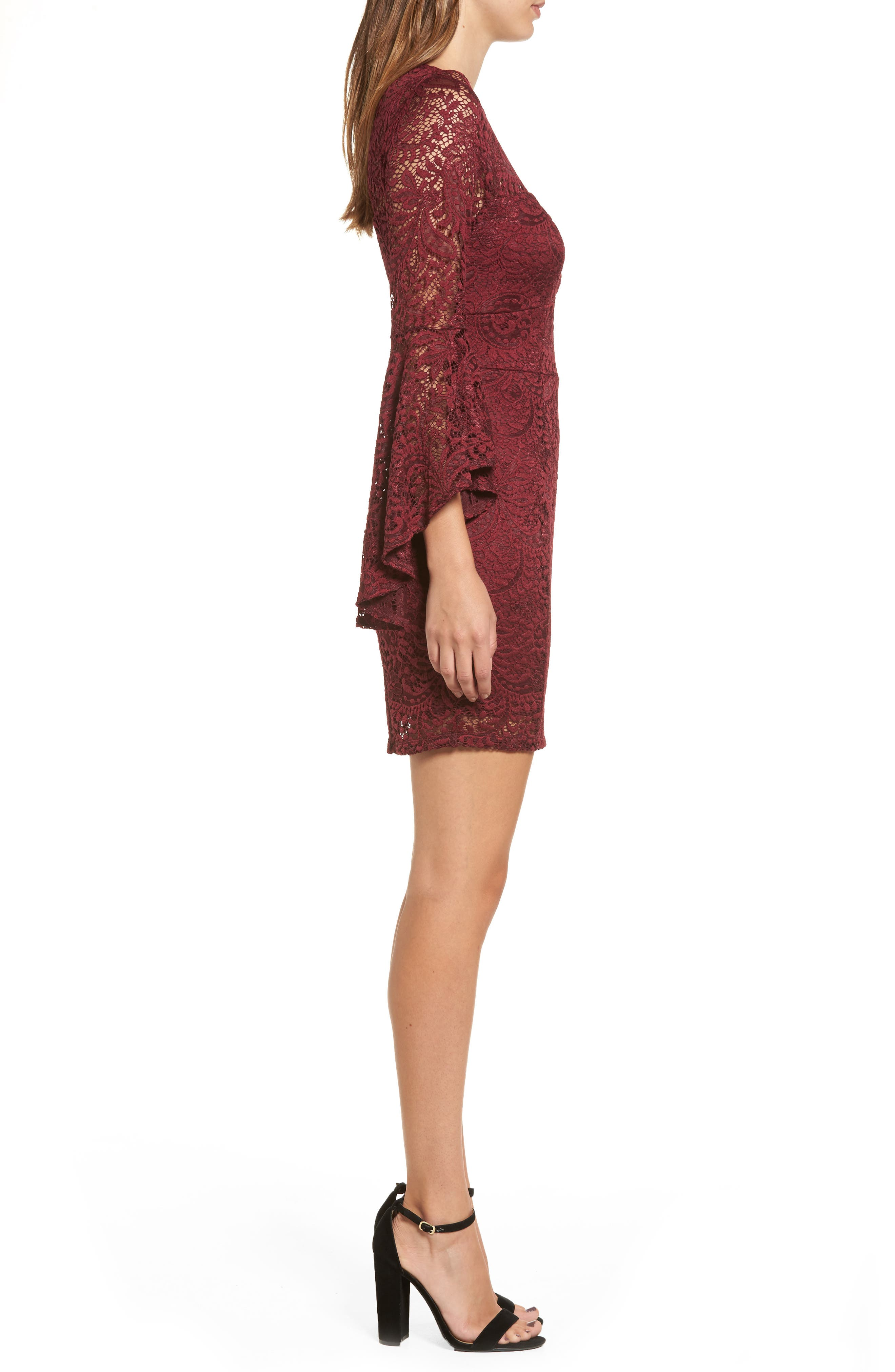 Lace Bell Sleeve Dress,                             Alternate thumbnail 3, color,                             Burgundy