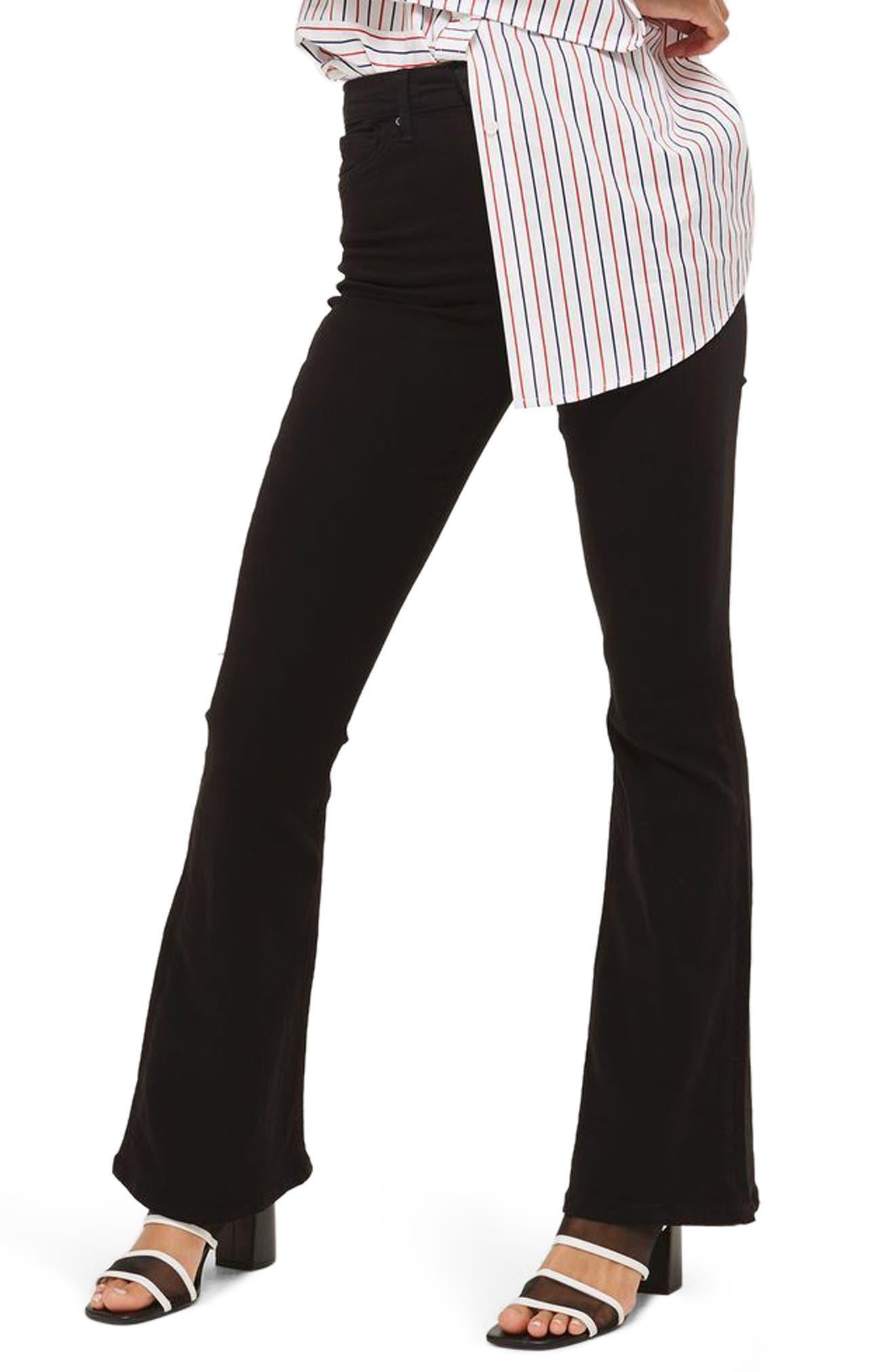 Jamie High Waist Flare Jeans,                             Main thumbnail 1, color,                             Black