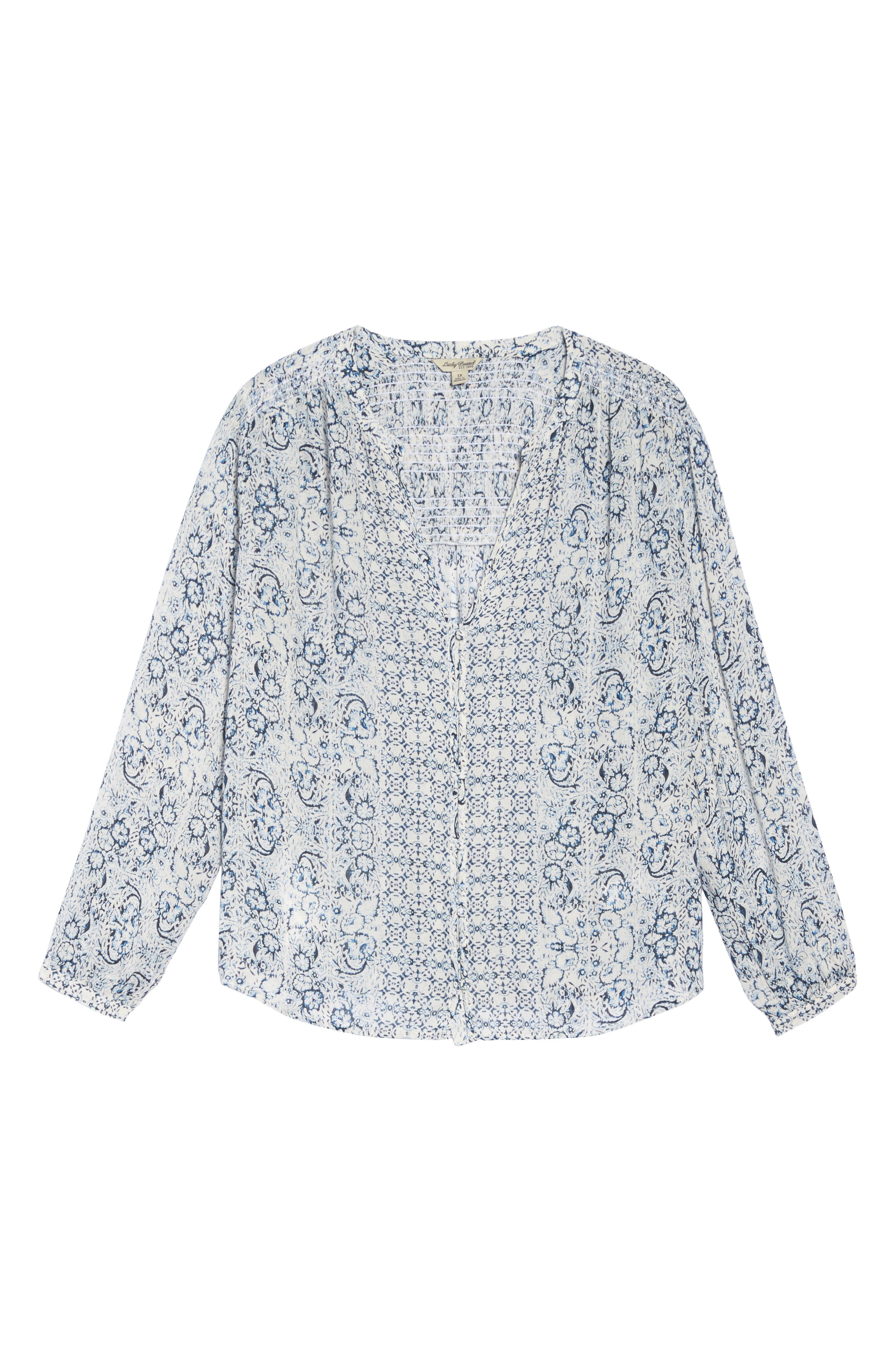 Alternate Image 6  - Lucky Brand Smocked Peasant Top (Plus Size)