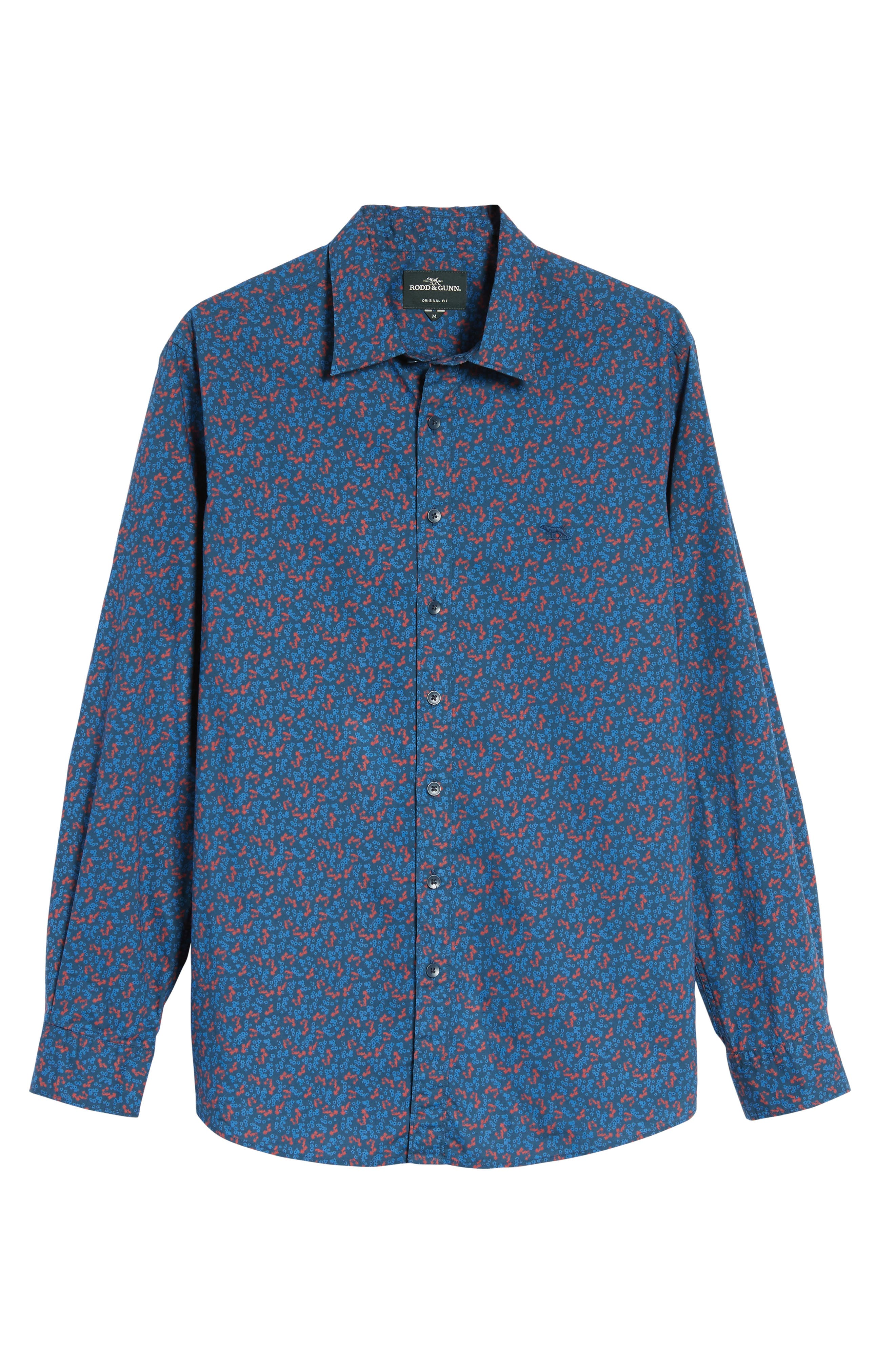 Patons Rock Original Fit Print Sport Shirt,                             Alternate thumbnail 6, color,                             Midnight
