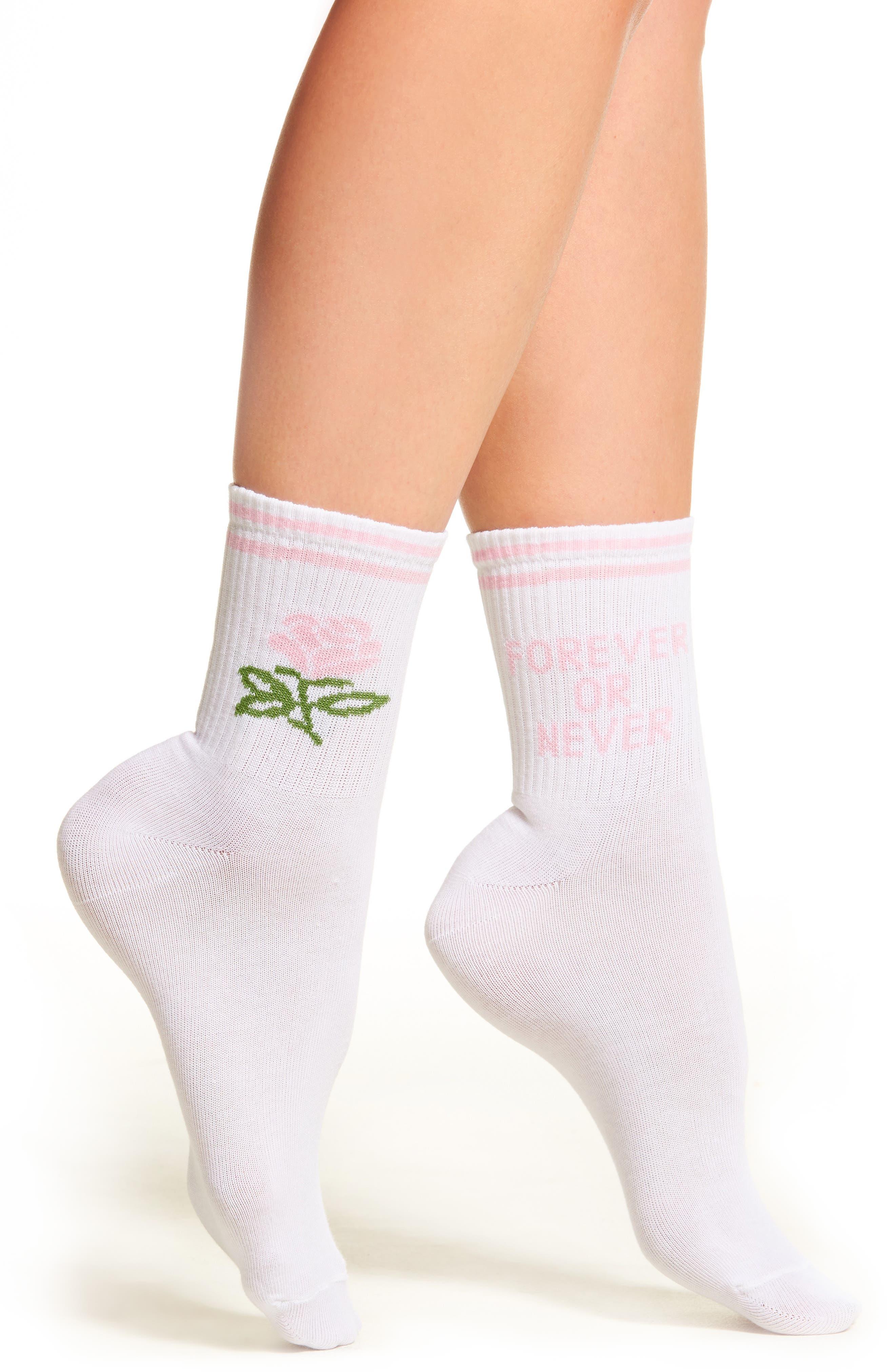 Forever or Never Socks,                         Main,                         color, White Pink