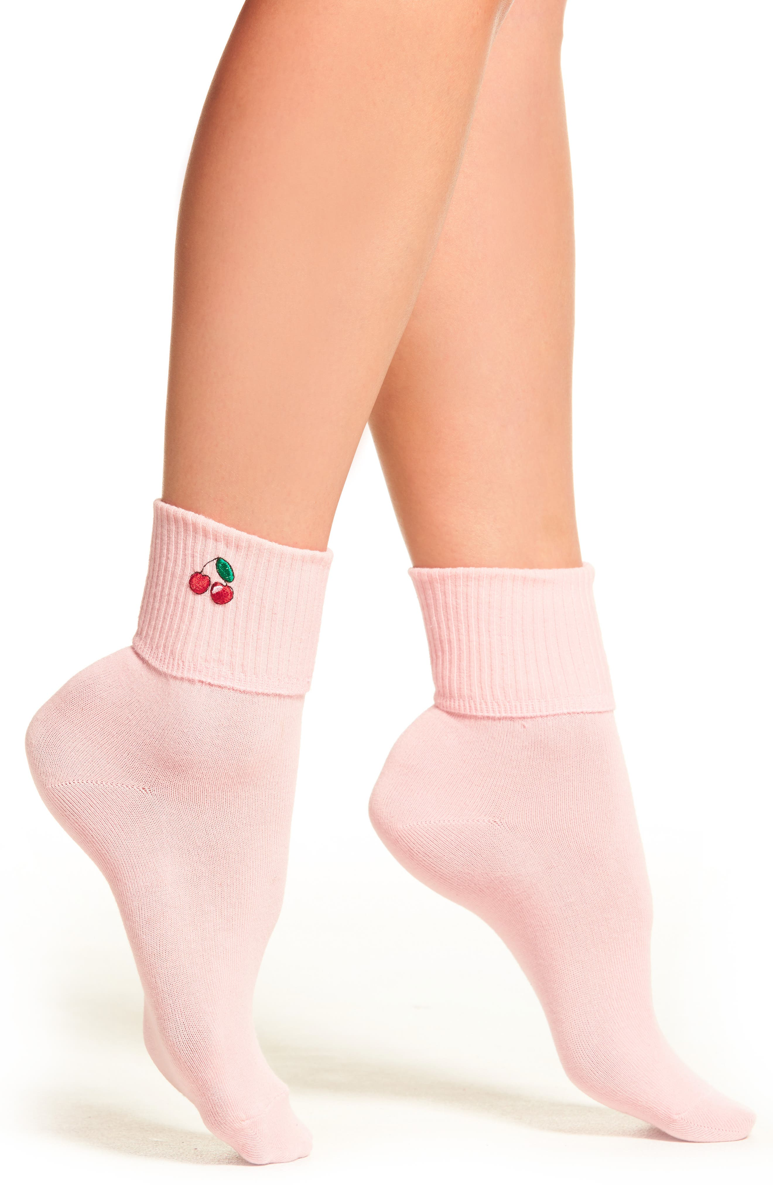 Cherry Socks,                         Main,                         color, Pink/ Red